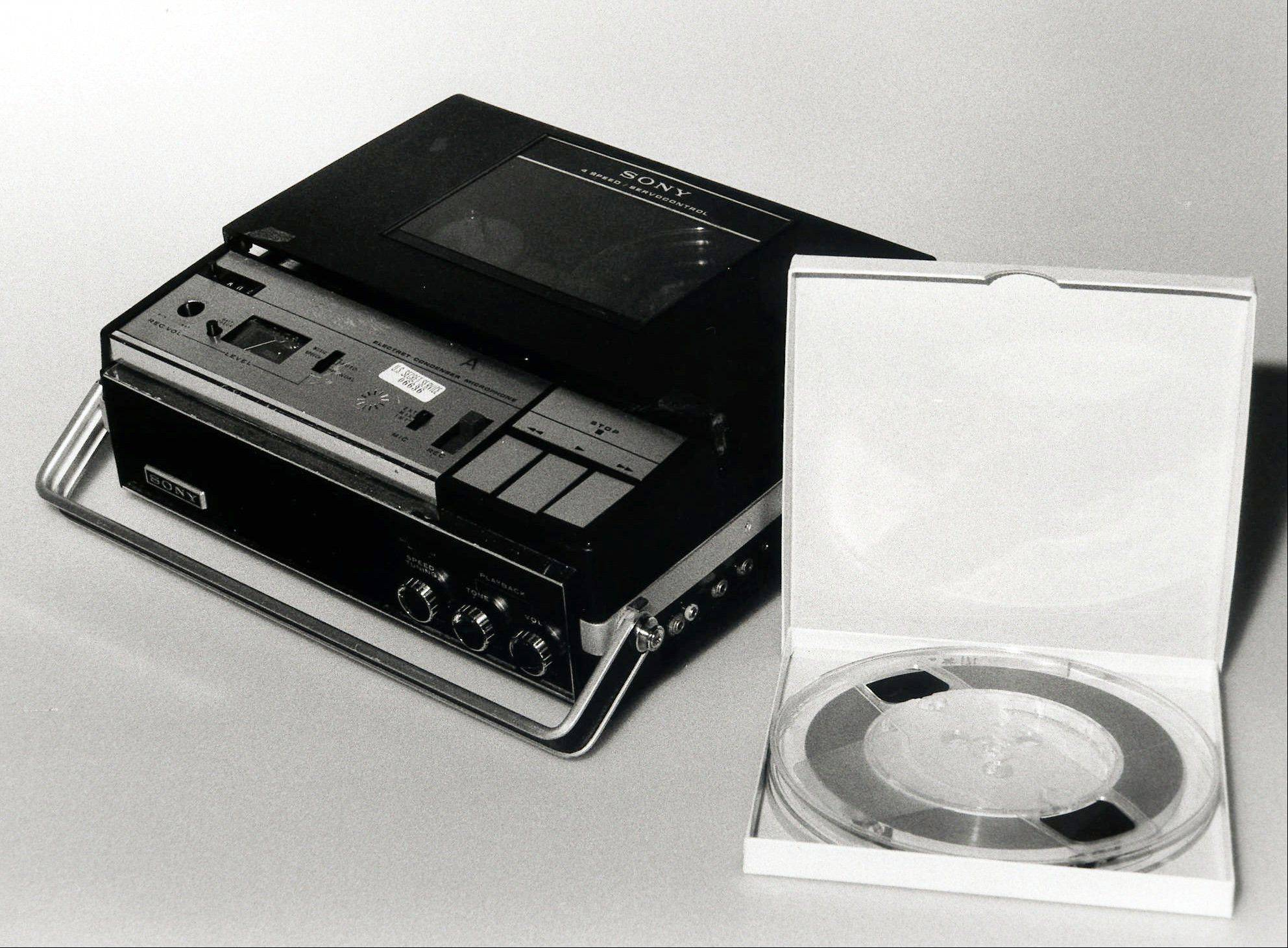 The original Nixon White House tape and original tape recorder are shown in an undated file photo from the National Archives.
