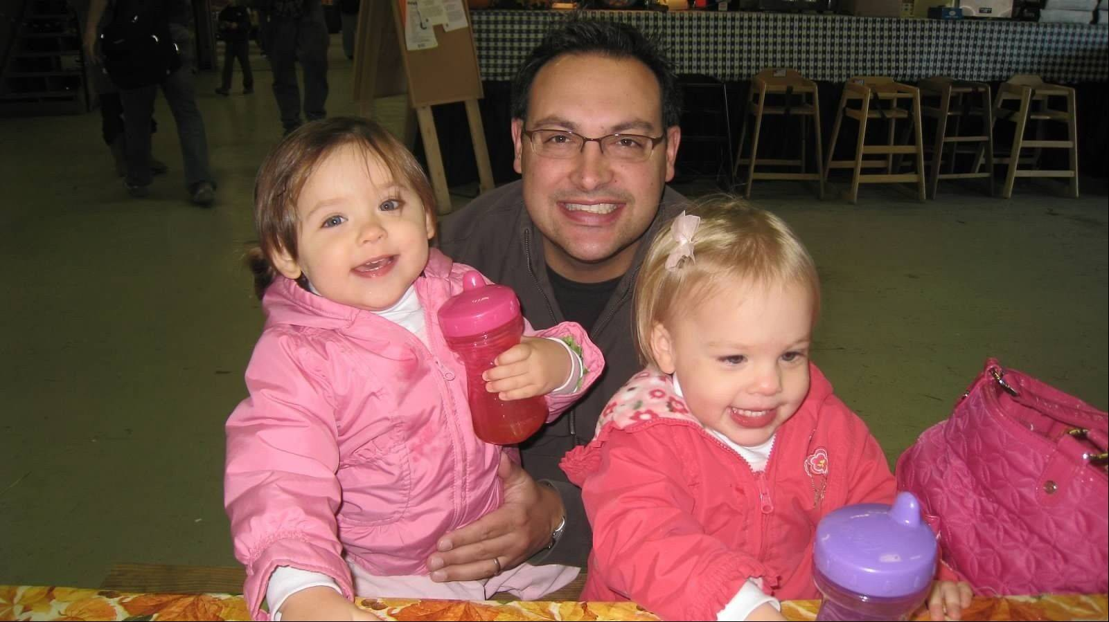 Josh Pierce with twin daughters Chloe, left, and Maddie. Josh was diagnosed two years ago with frontotemporal degeneration, a rare form of early onset dementia that can strike people as young as 20.