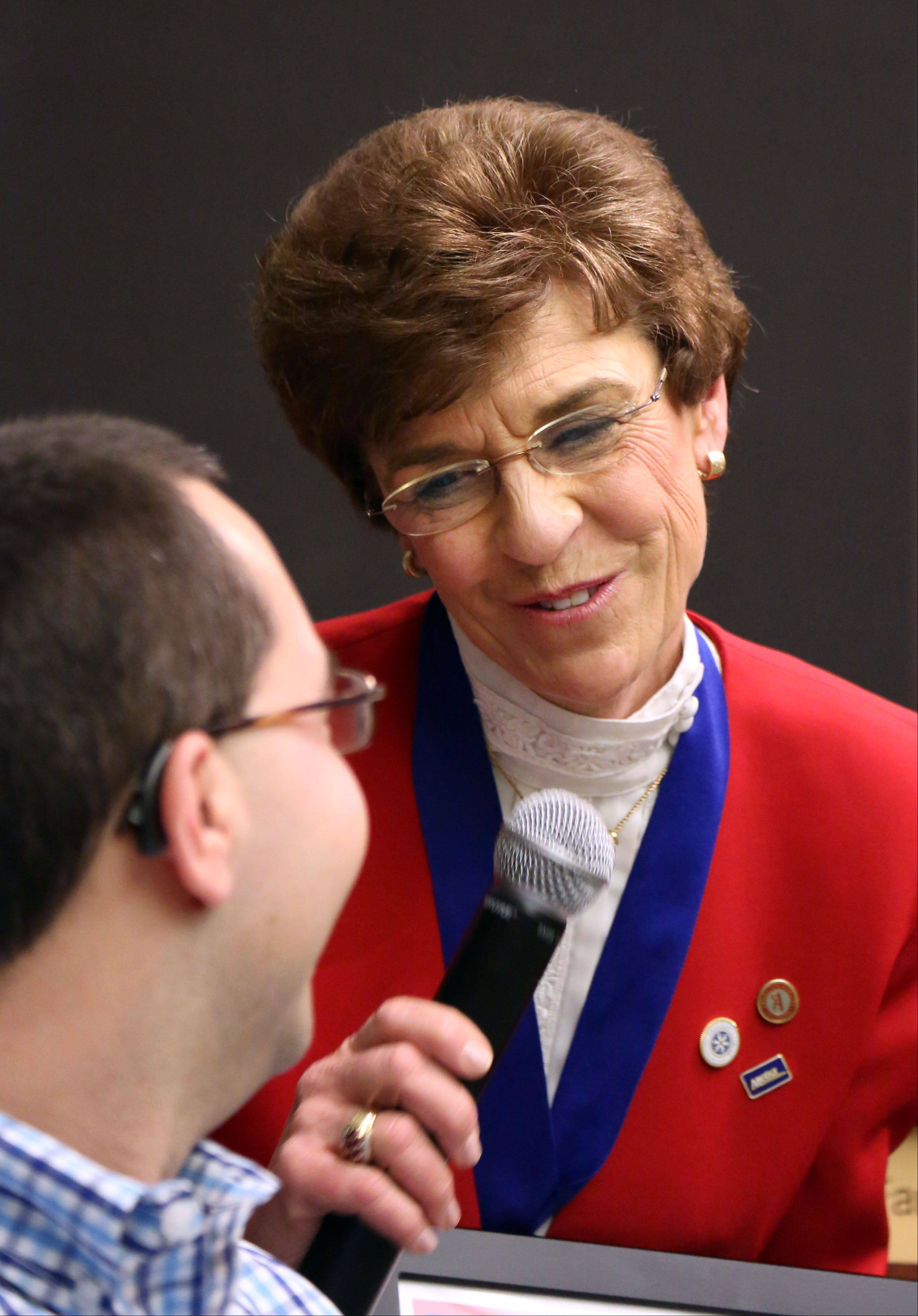 Earlier this year, Seth Goldberg gives retiring Arlington Heights Mayor Arlene Mulder an honor on behalf of the Muscular Dystrophy Association.