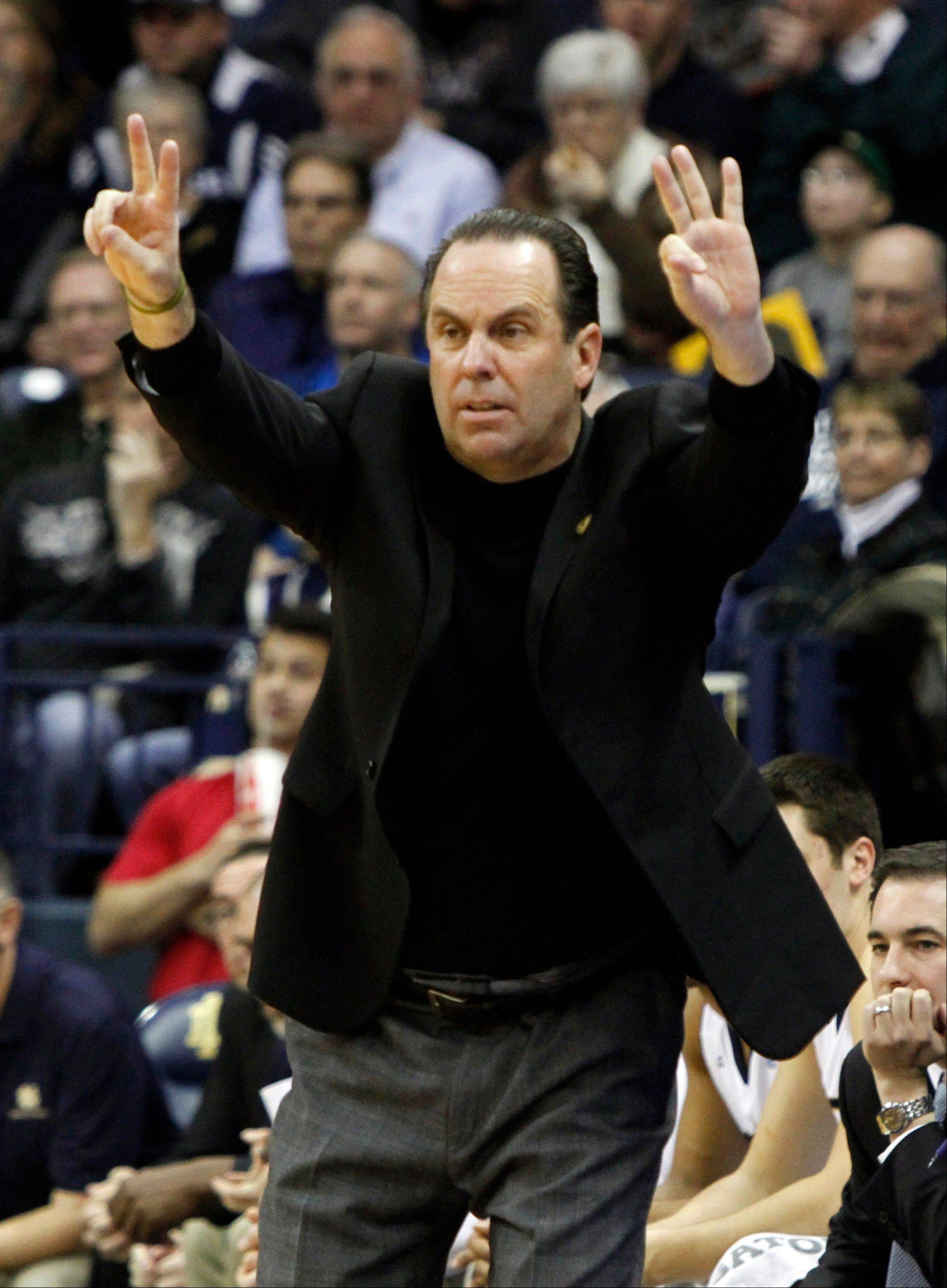Notre Dame coach Mike Brey was an assistant under Duke coach Mike Krzyzewski from 1987-95.