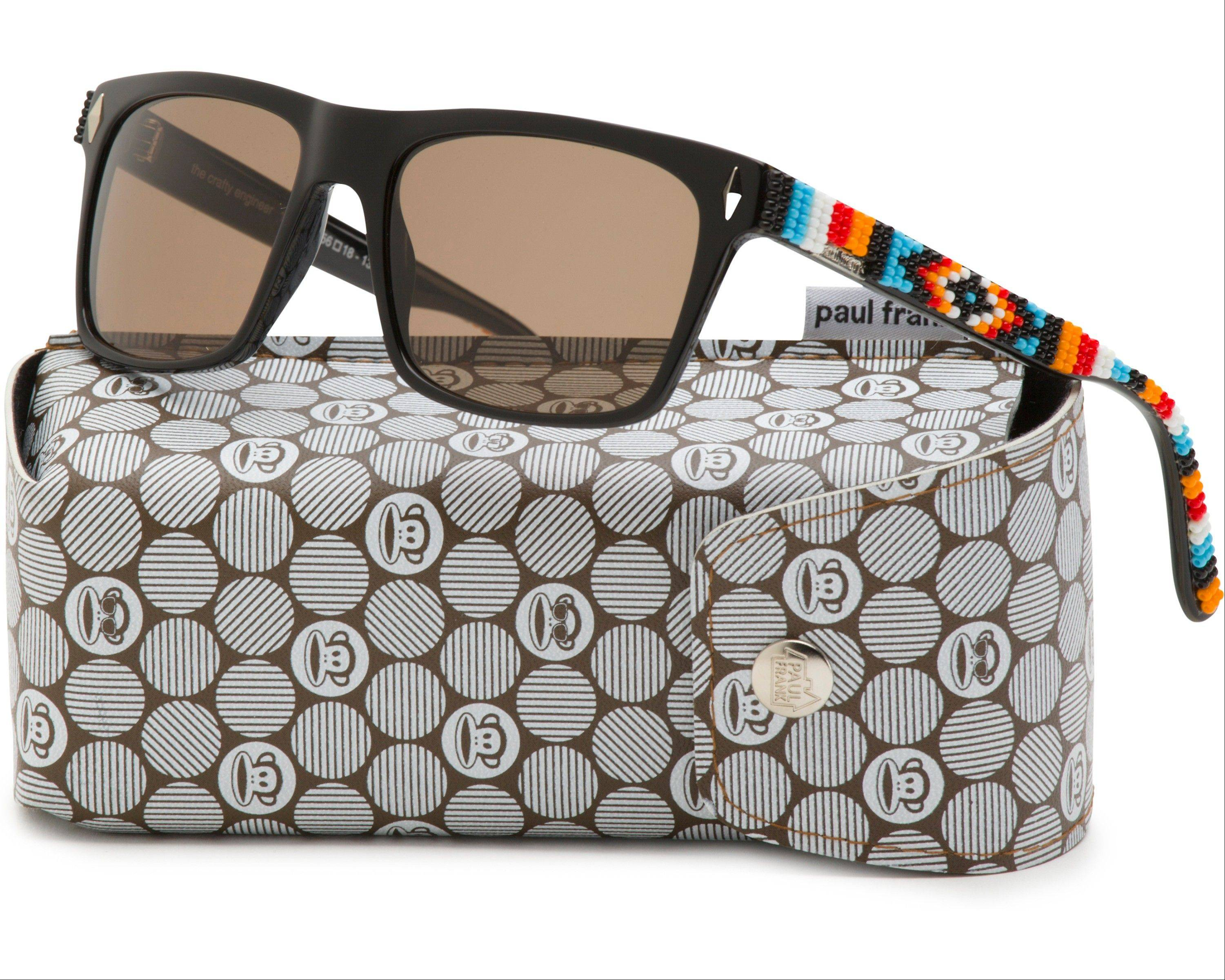 Beaded sunglasses designed by artist Candace Halcro, a member of the Plains Cree and Metis Aboriginal tribes. Paul Frank collaborated with Halcro and three other Native American artists and designers to create a new collection.