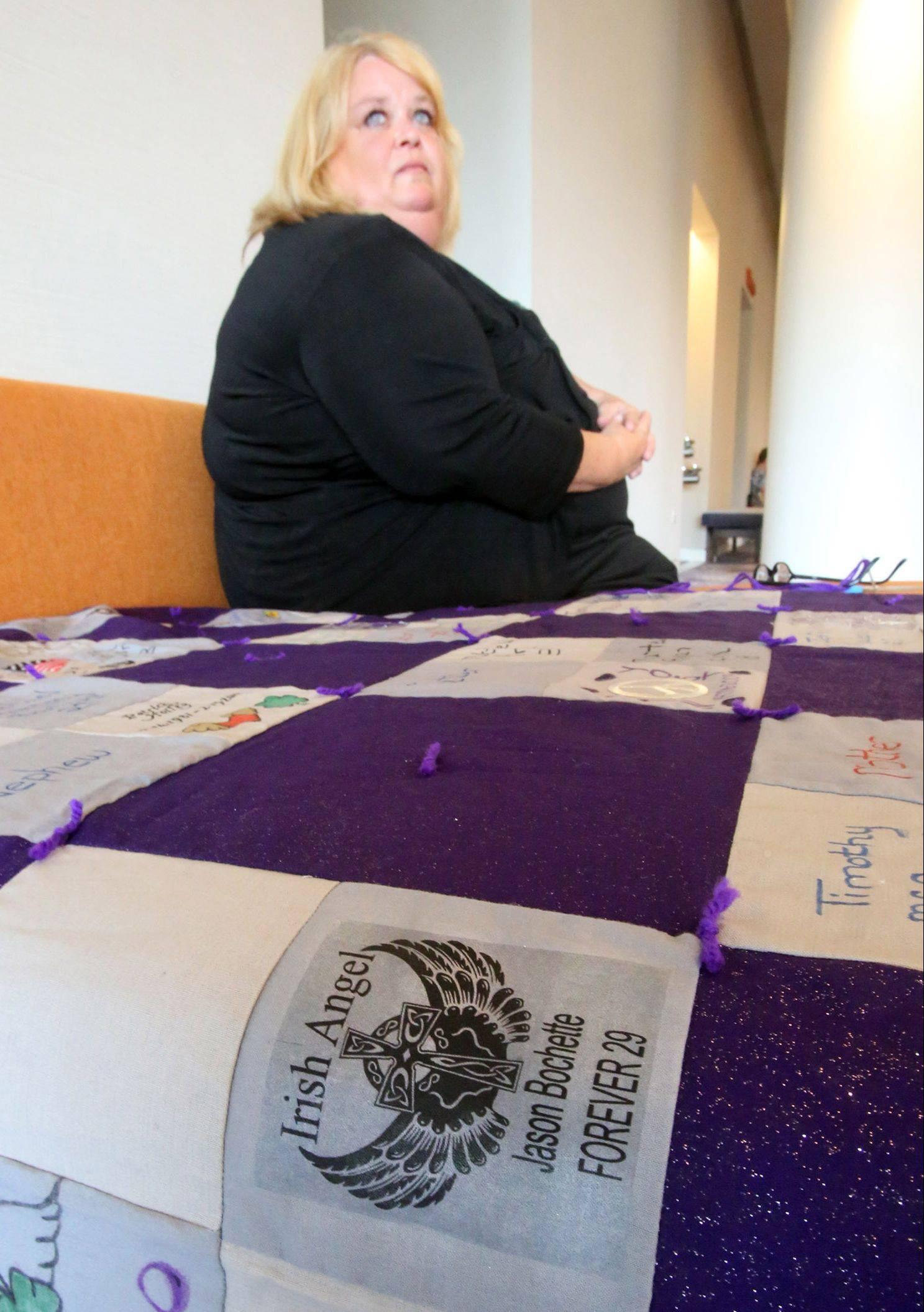 "Terri Dudar of Carpentersville made a 100-square quilt, with each square memorializing a suburban person who died of a heroin overdose. Among them is her son,""Irish Angel"" Jason Bochette, who died in 2008 at age 29."