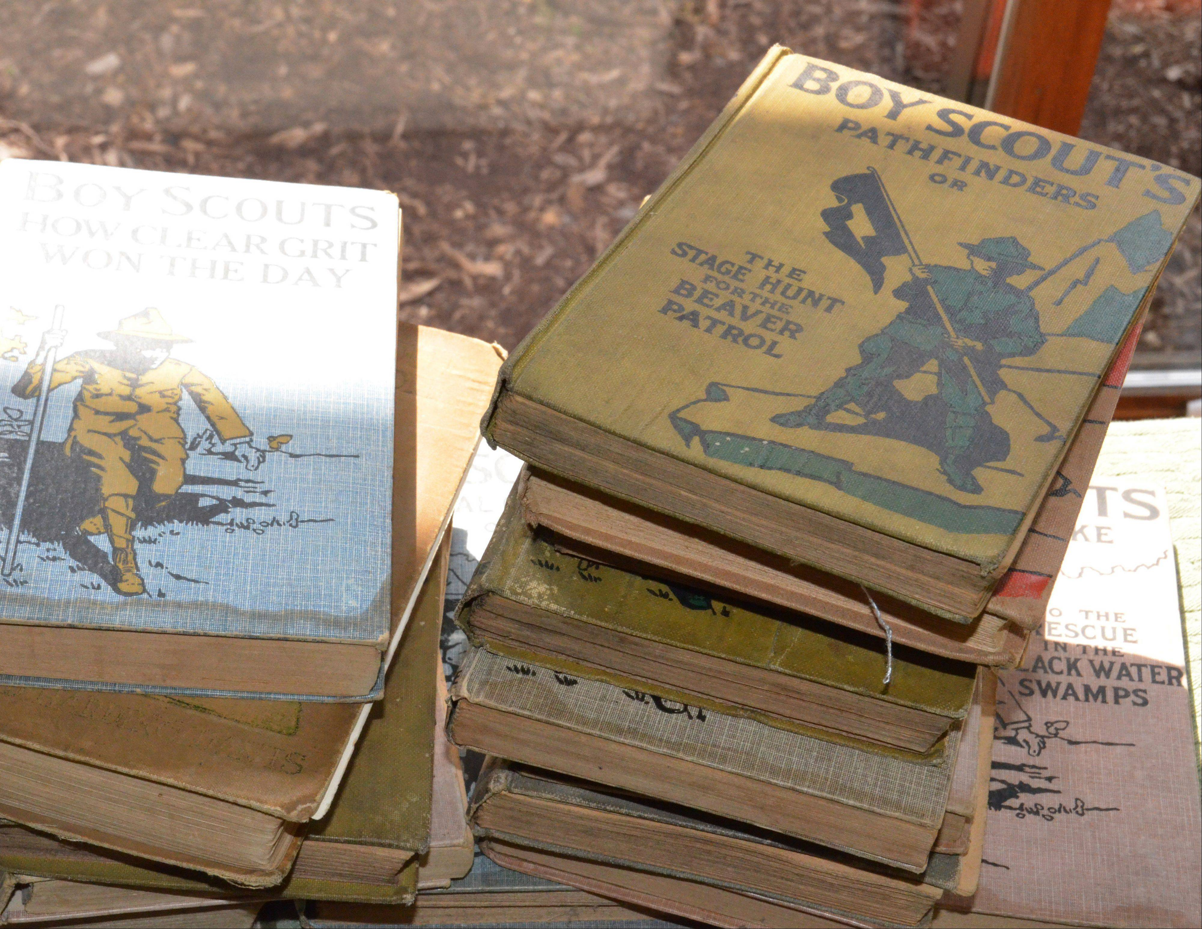 Old books collected by the Gurnee Boy Scout Troop 677.