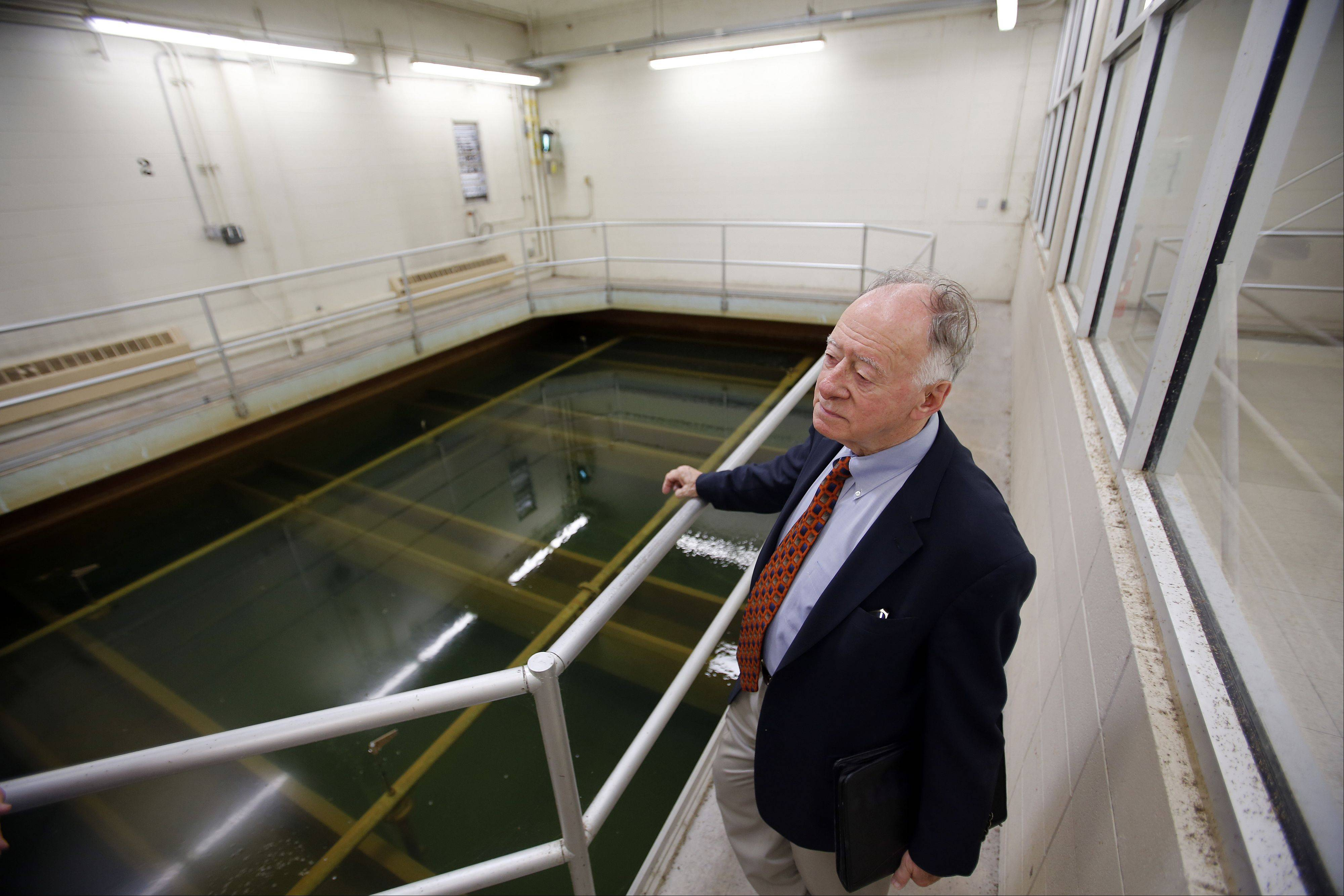Former Elgin City Manager Leo Nelson tours the Riverside Drive Water Treatment Plant, which the city plans to name after him. Nelson spearheaded the idea of building the facility in the 1970s.