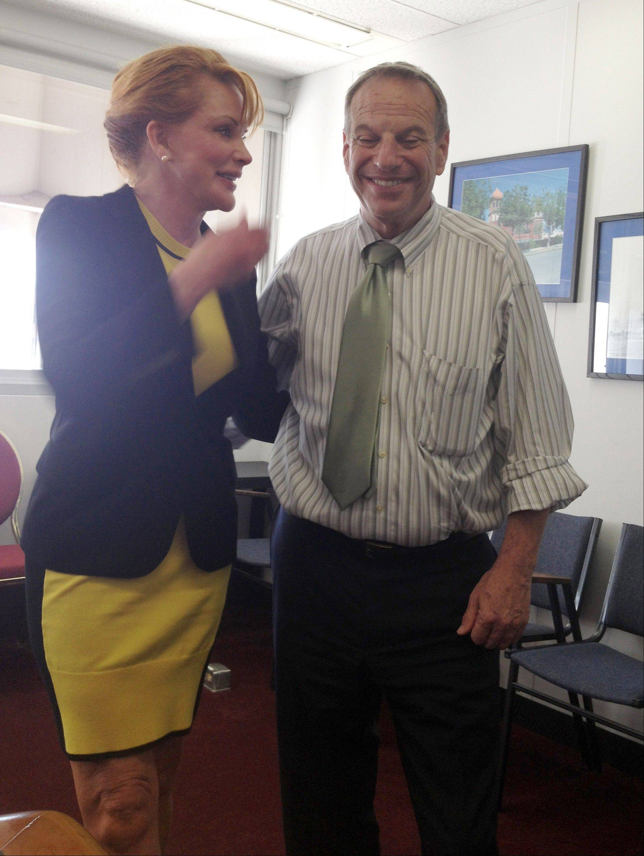 Dianne York is photographed with San Diego Mayor Bob Filner in a conference room adjacent to the mayor�s office in San Diego. York first came forward to say that Filner put his hands on her buttocks while this photo was being taken following a meeting in his office.