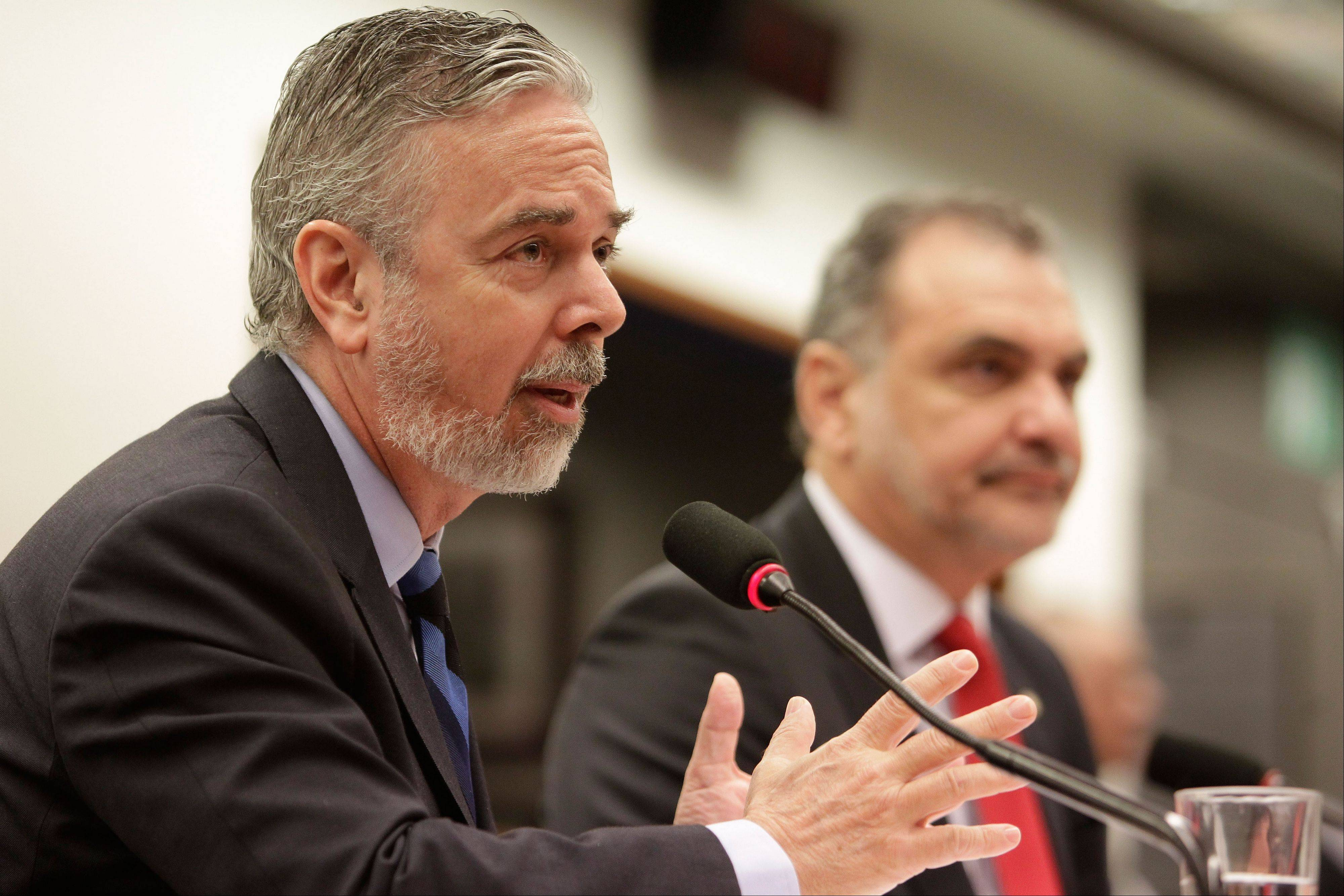 Brazil�s Foreign Minister Antonio de Aguiar Patriota, left, speaks Thursday to the Congressional Commission of Foreign Relations in Brasilia, Brazil. De Aguiar Patriota said U.S. surveillance programs violate the sovereignty of countries whose emails and telephone calls have been targeted by the National Security Agency.