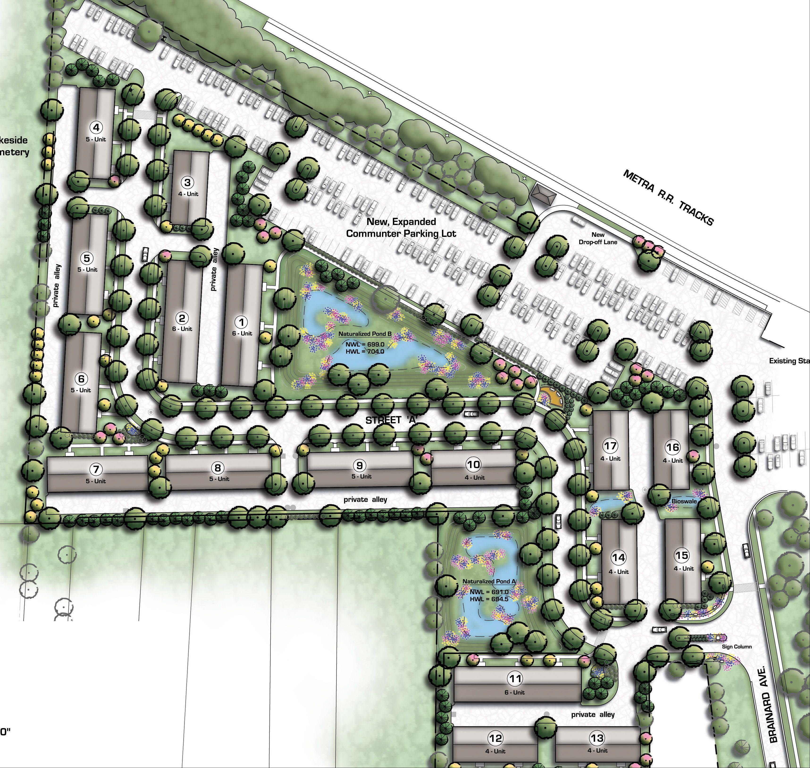 Proposed Liberty Station development near Libertyville's Metra station.