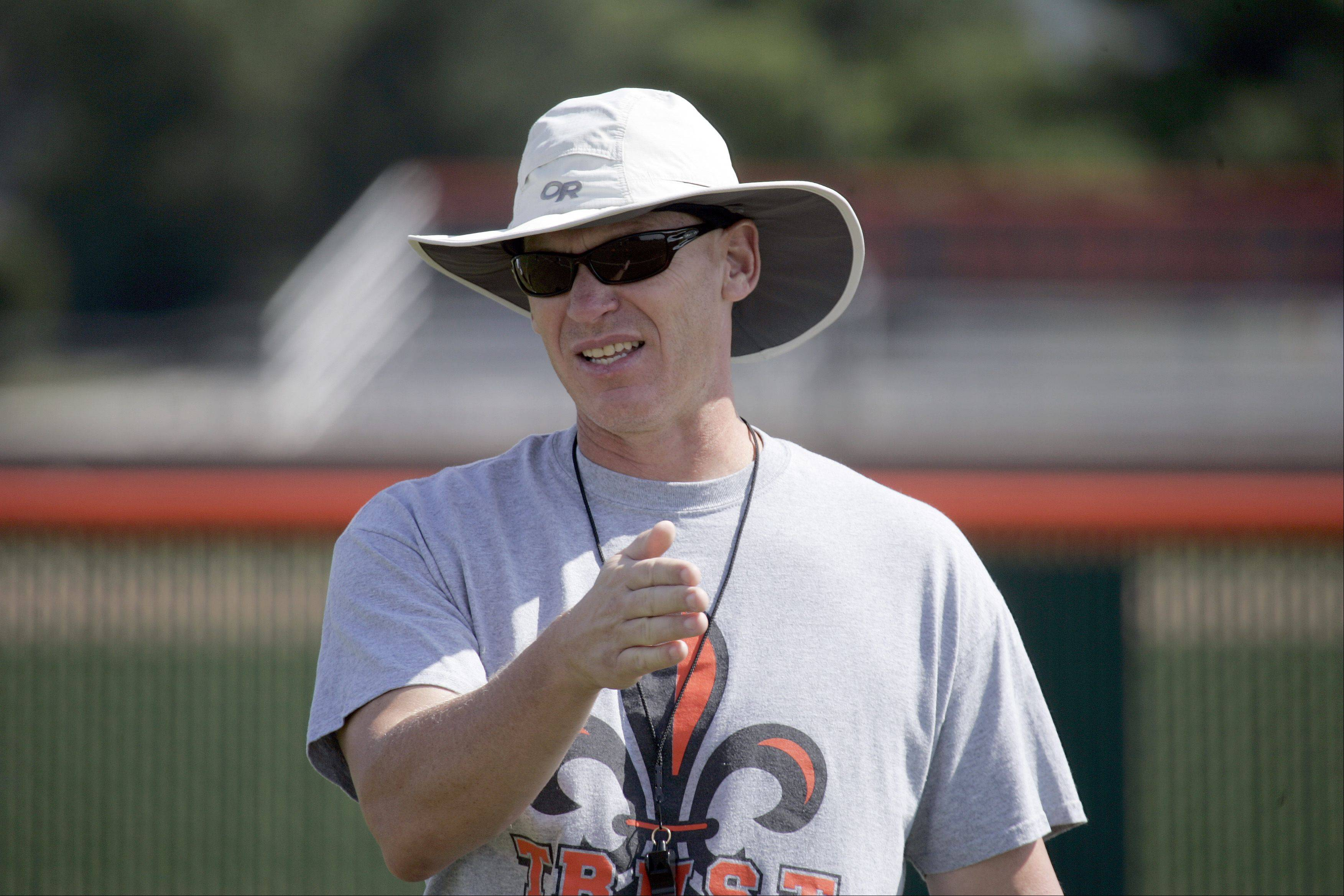 Brian Hill/bhill@dailyherald.com Coach Mike Fields during the second day of football practice at St. Charles East High School Thursday in St. Charles.