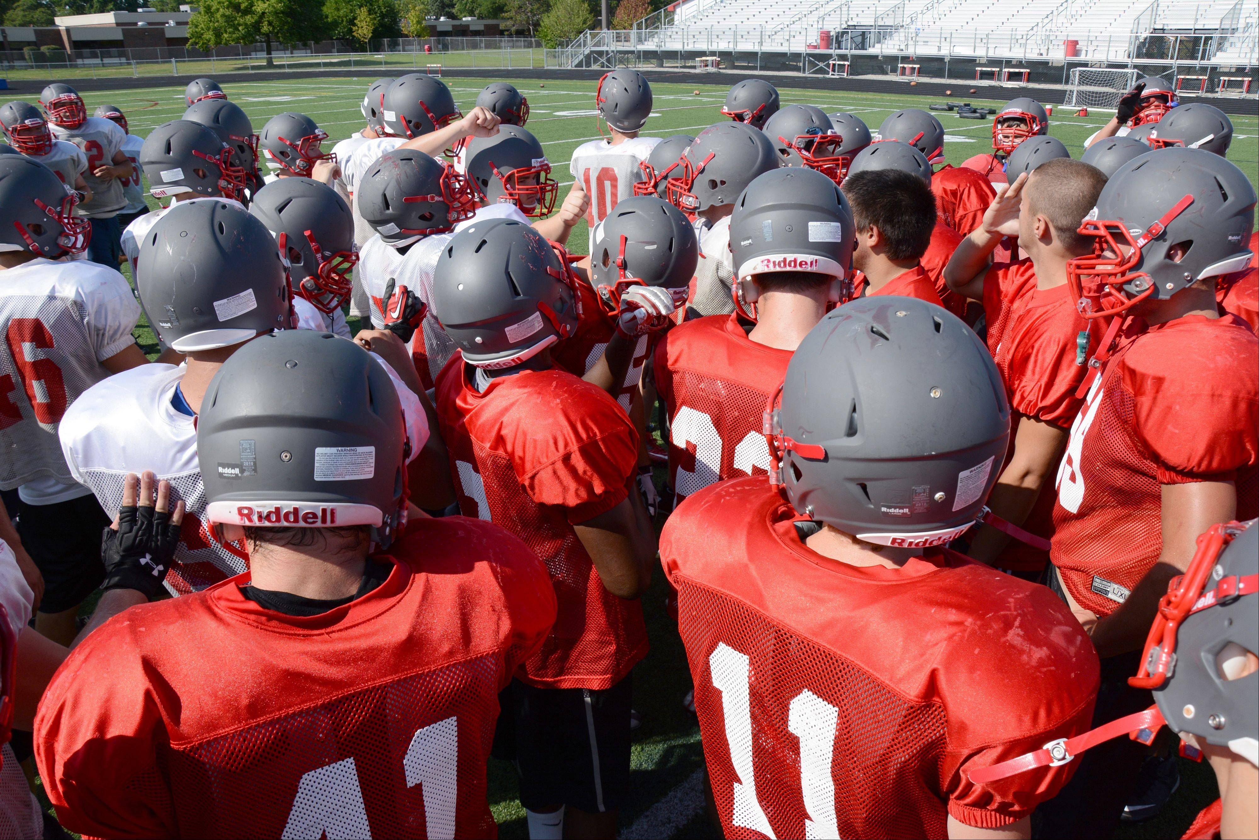 Palatine gathers a midfield during preseason practice.