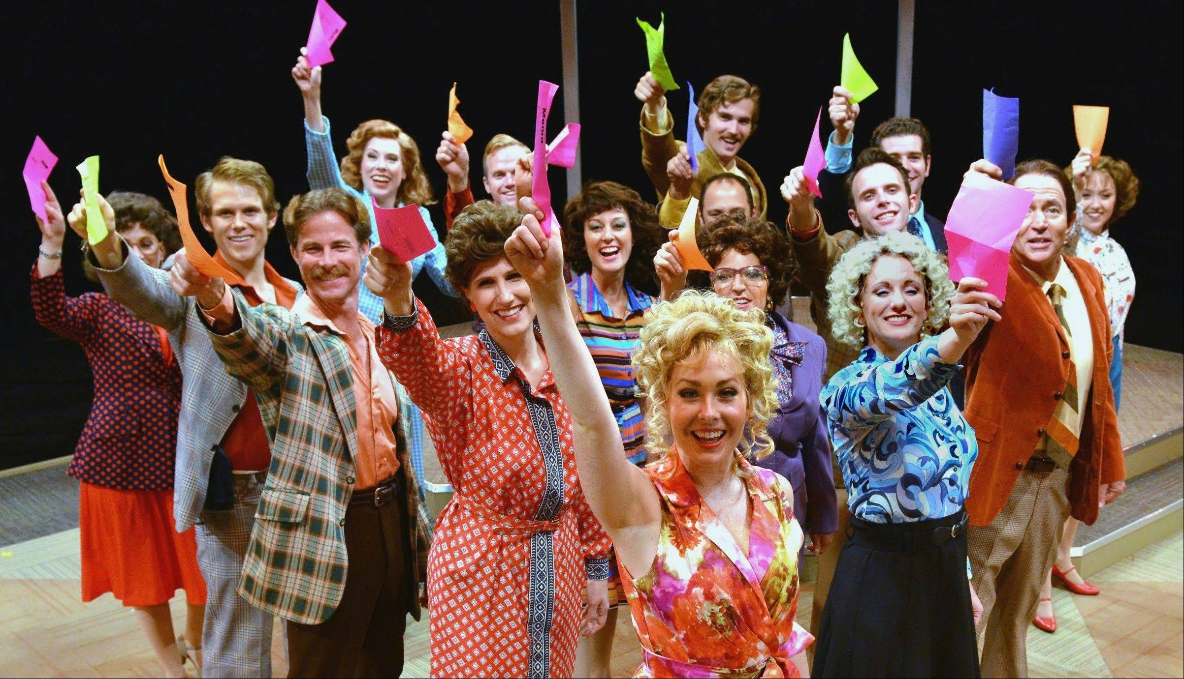 "Office workers unite in David H. Bell's production of ""9 to 5: The Musical"" at Marriott Theatre in Lincolnshire."