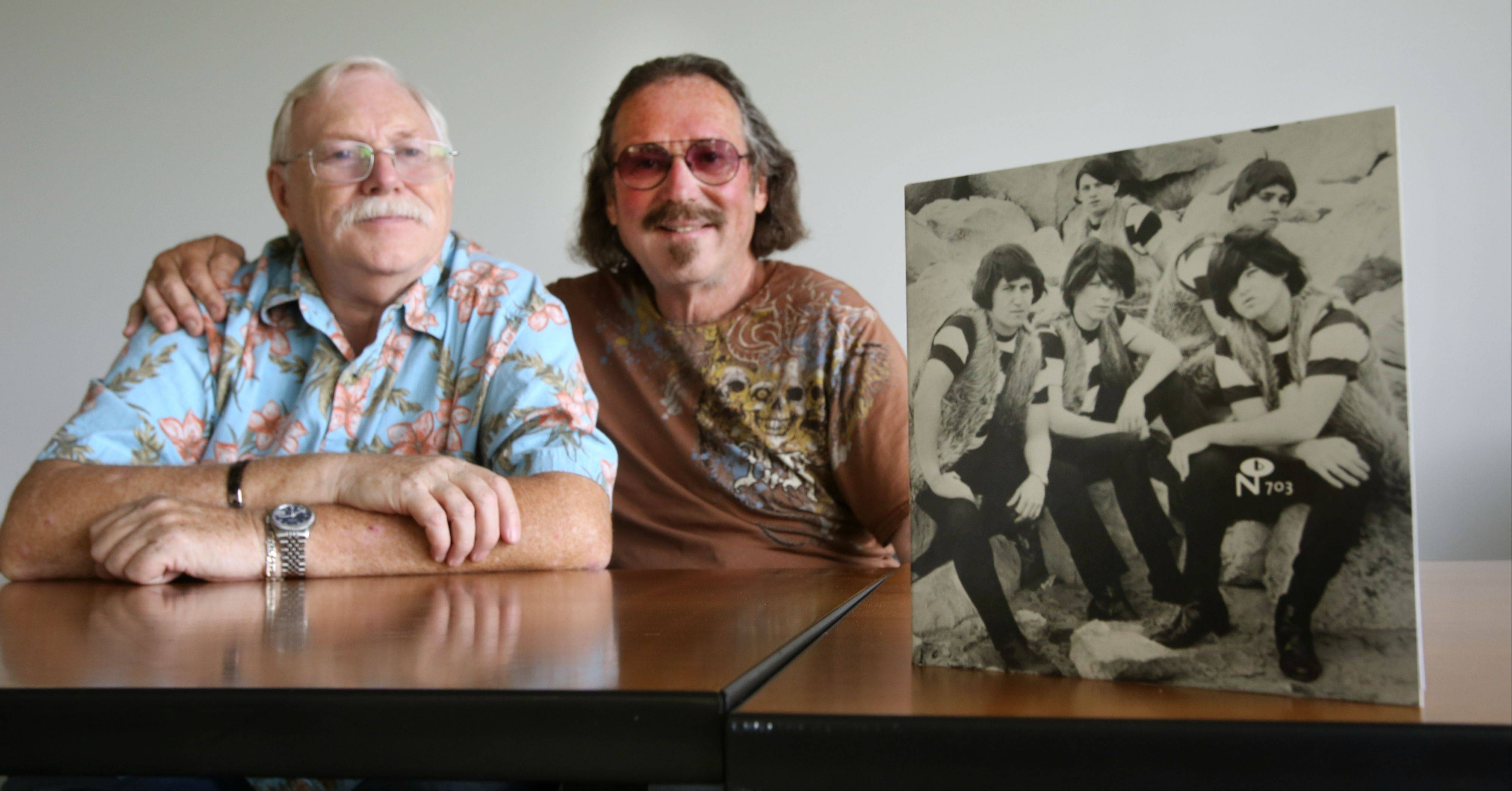 Despite disputes about their history in the 1960s garage-rock band the Cave Dwellers, former members Gary Goldberg, right, and Peter Budd have reunited and hope to play music together again.