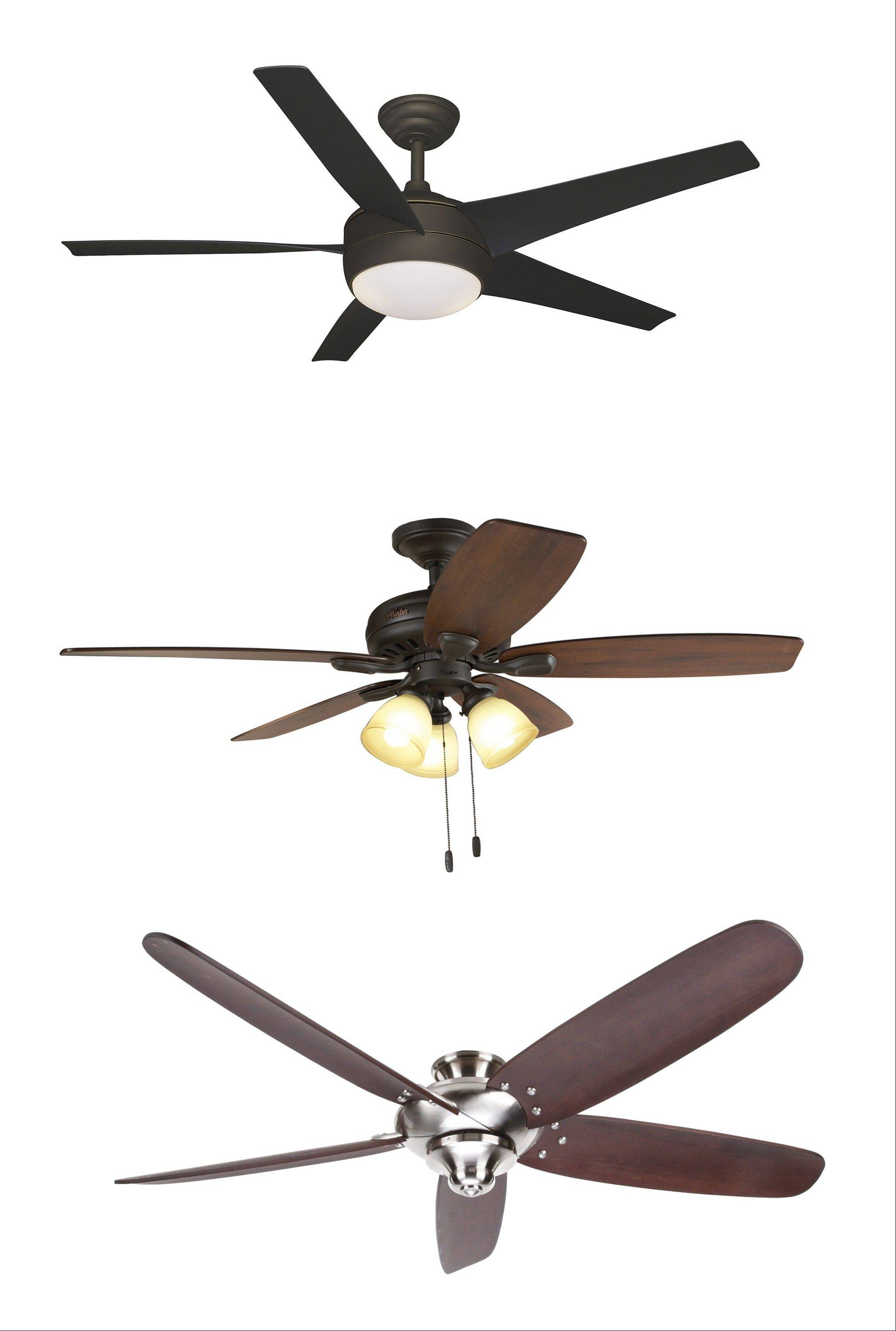Ceiling fans can be design-conscious as well as functional. Three examples from top to bottom: Hampton Bay�s 52-inch Windward IV fan in oil-rubbed bronze; 52-inch Highbury bronze ceiling fan from Hunter; Hampton Bay�s 68-inch brushed nickel Altura.