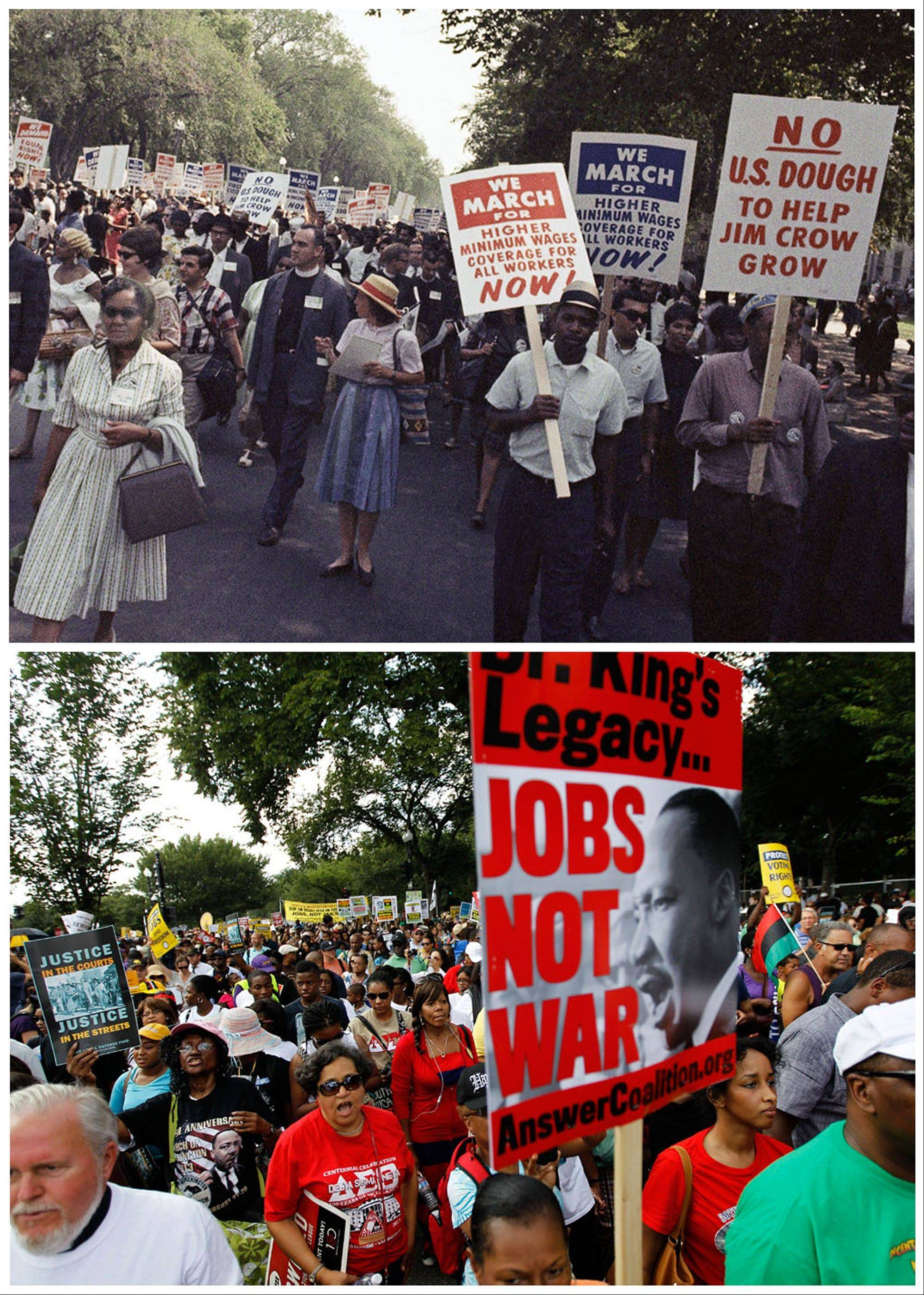 In this combination of Associated Press file photos, at top, a large crowd marches for civil rights in Washington on Aug. 28, 1963; and at bottom, demonstrators march toward the Martin Luther King Junior Memorial during a rally to commemorate the 50th anniversary of the 1963 march on Saturday.