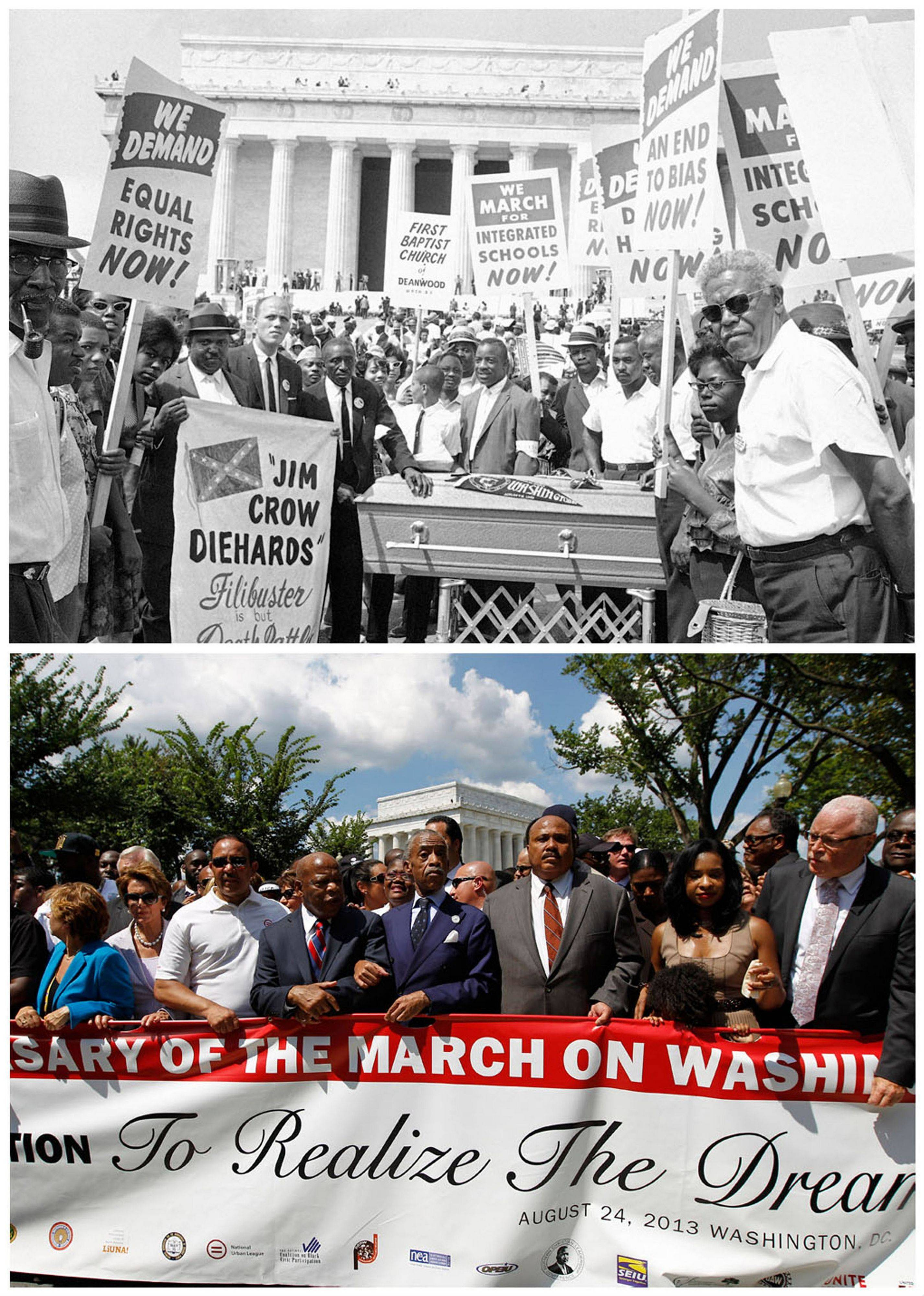 At top, a group of demonstrators pose for a photo at the Lincoln Memorial in during the Aug. 28, 1963, March on Washington; and at bottom, the Rev. Al Sharpton, center, arm-in-arm with Congressman John Lewis, lining up with Martin Luther King III, third from right, Andrea King, and Rep. Nancy Pelosi, second from left, after the rally Saturday at the Lincoln Memorial, commemorating the 50th anniversary of the 1963 march.