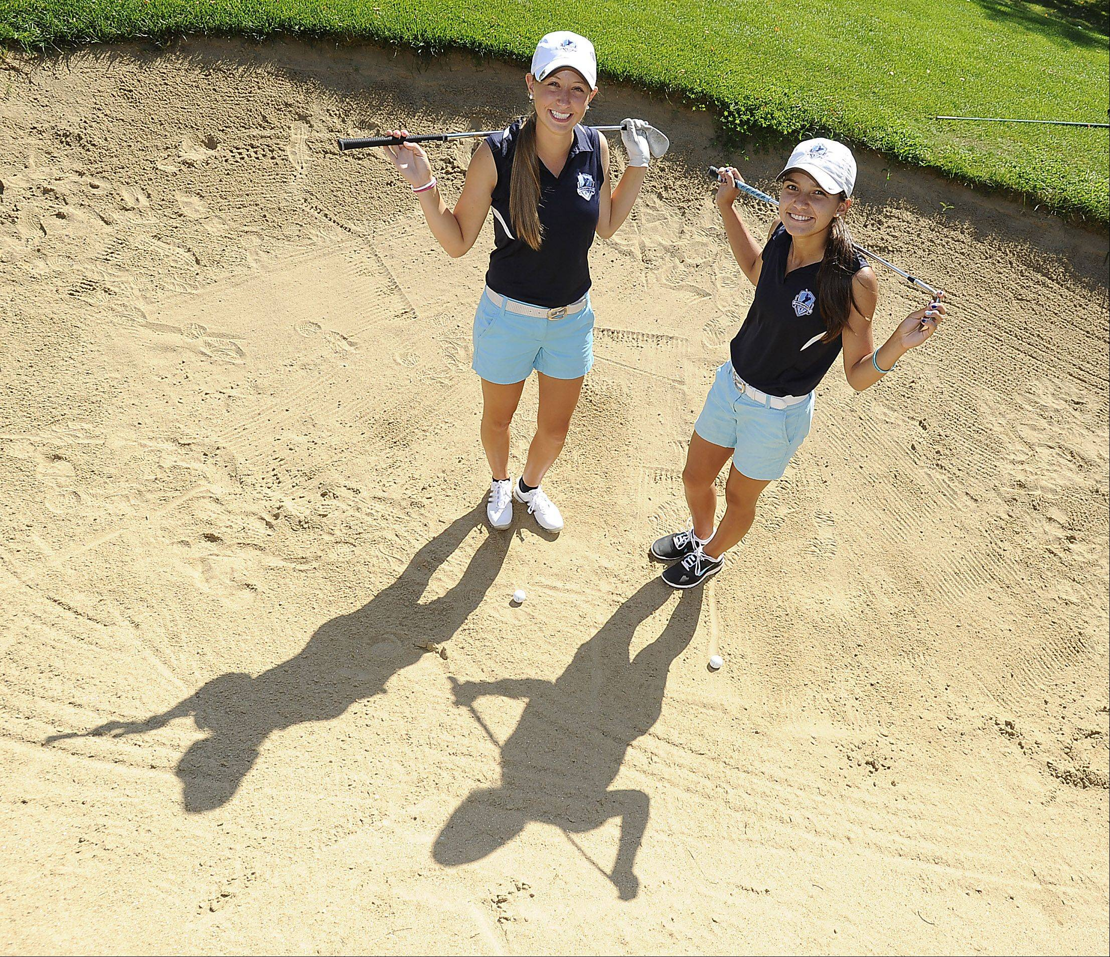 Kiley Walsh, left, and teammate Ally Scaccia are leading Prospect�s elite girls golf program this fall.