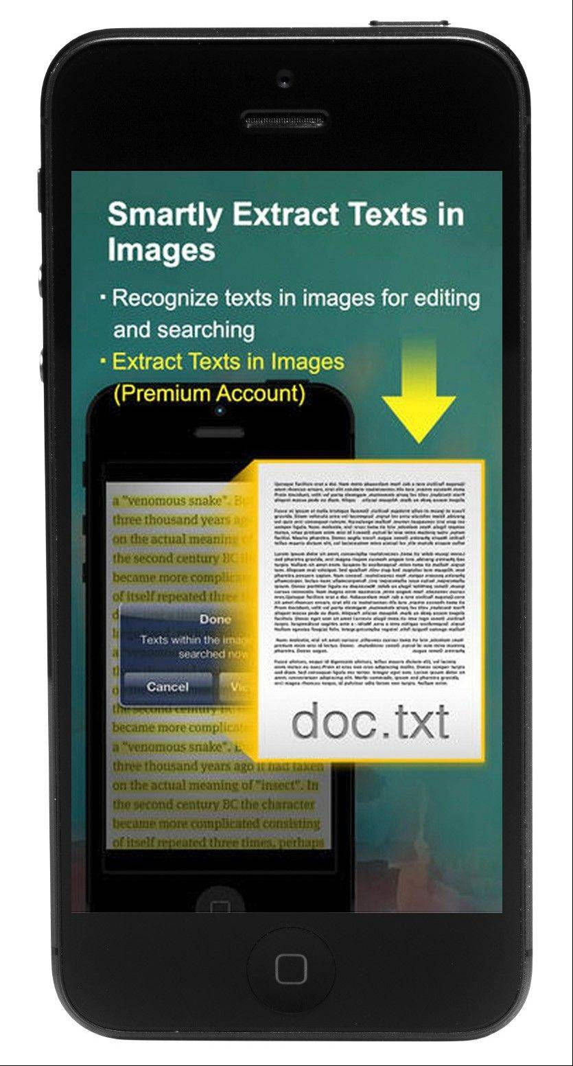 The CamScanner app can scan documents by taking a picture with a camera phone and save them as PDF files.