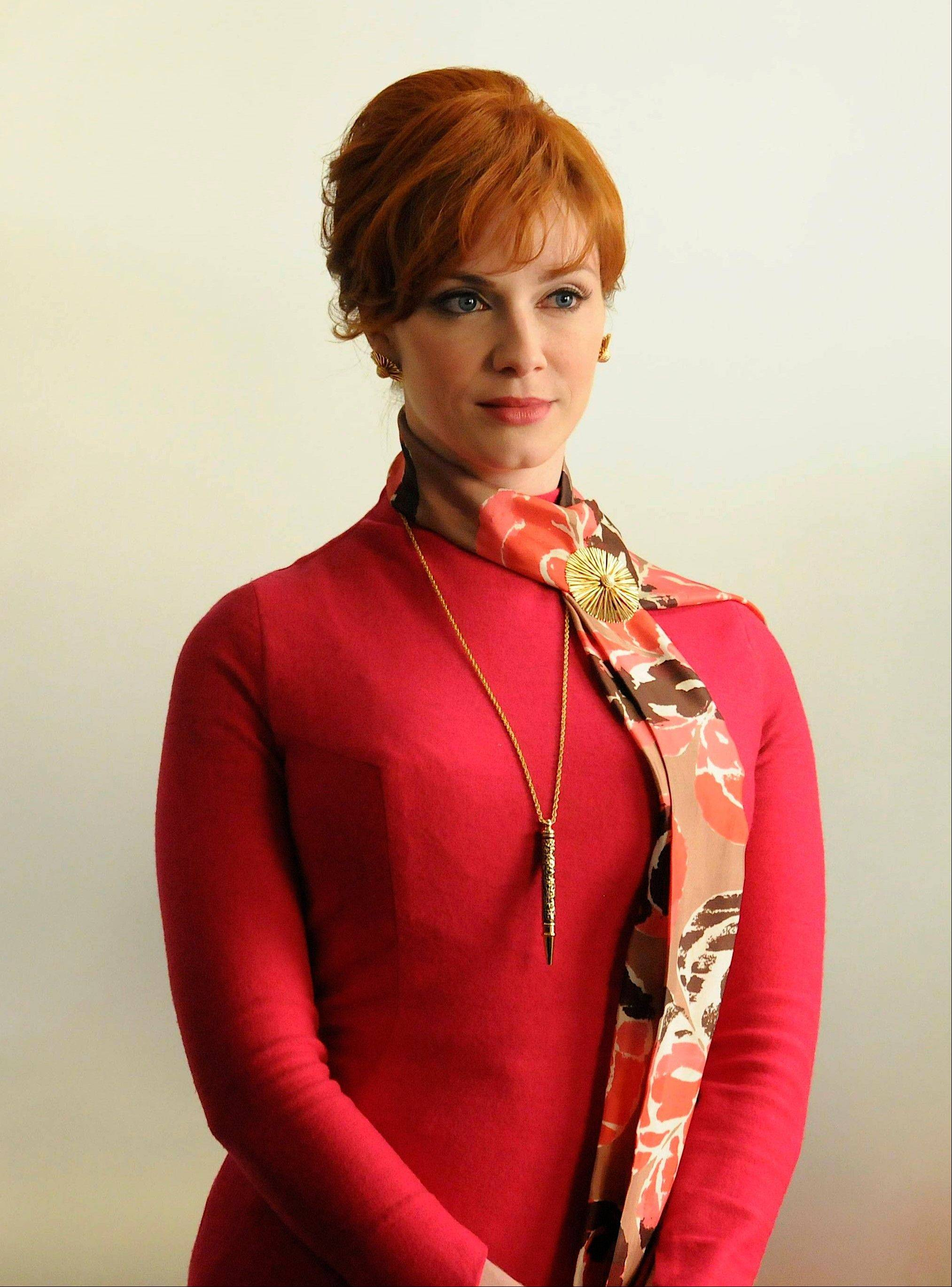 "Actress Christina Hendricks, who portrays Joan Harris, in a scene from ""Mad Men."""