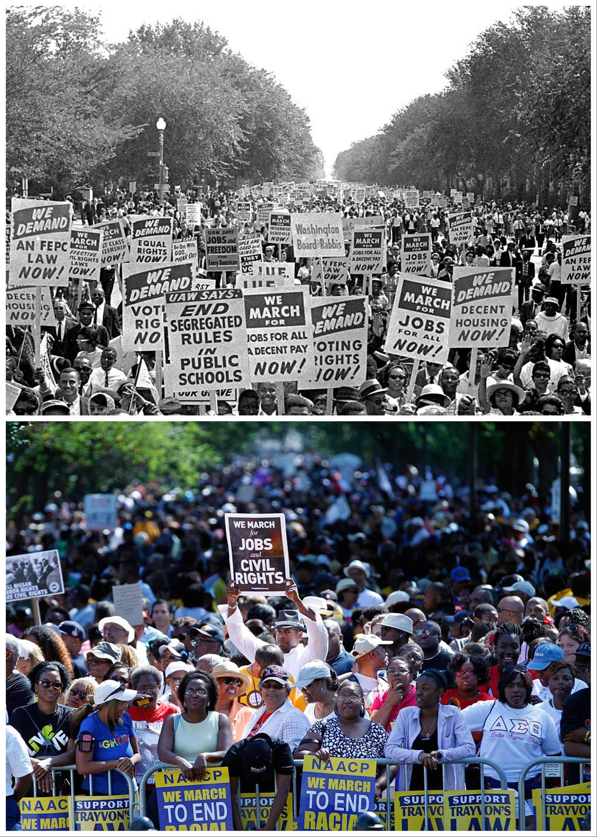 At top, civil rights protesters march down Constitution Avenue carrying placards during the March on Washington on Aug. 28, 1963; and at bottom, people rally at the Lincoln Memorial in Washington to commemorate the 50th anniversary of the 1963 march Saturday, Aug. 24, 2013.