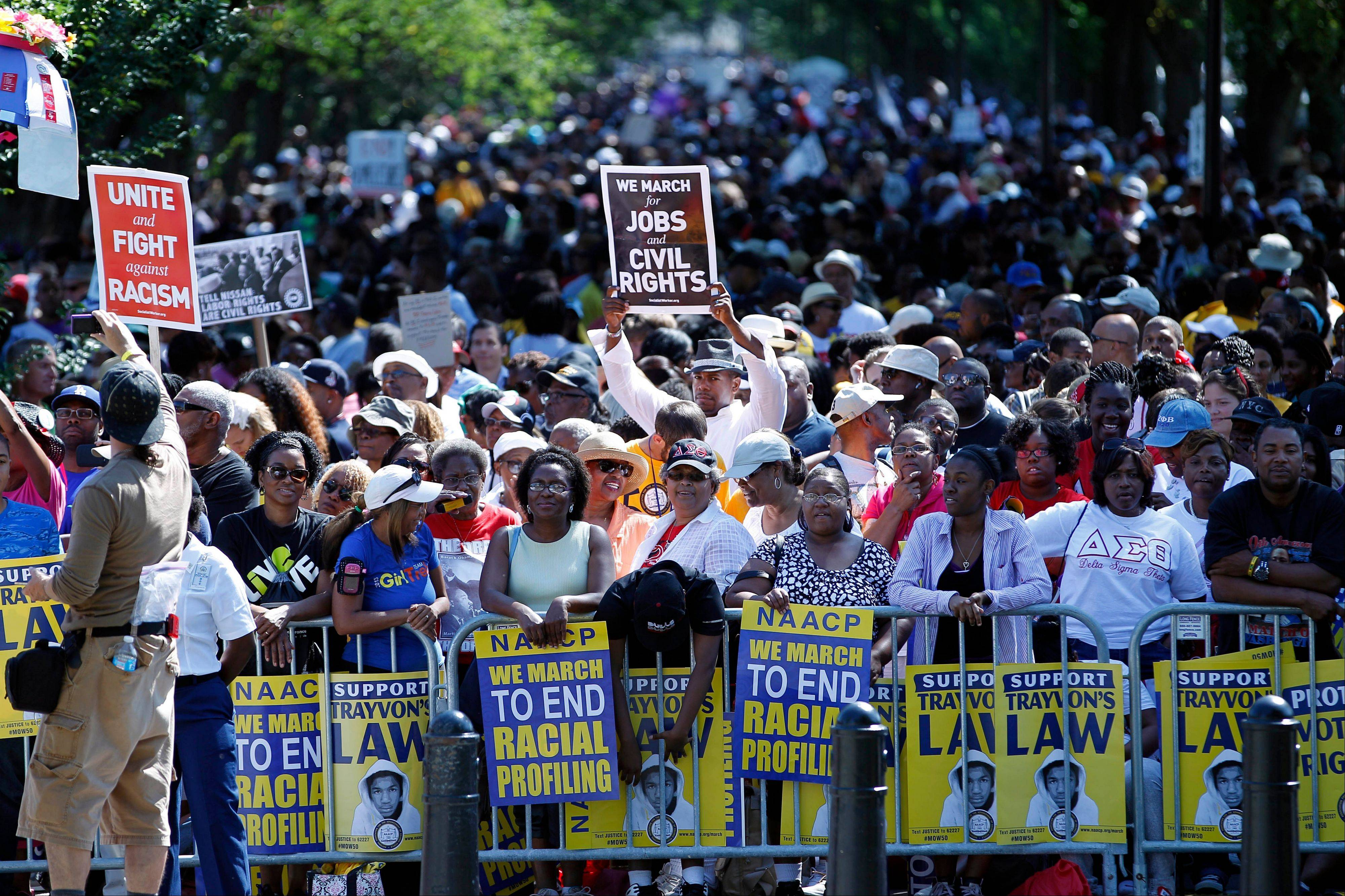 Crowds rally at the Lincoln Memorial Saturday in Washington to commemorate the 50th anniversary of the 1963 March on Washington.