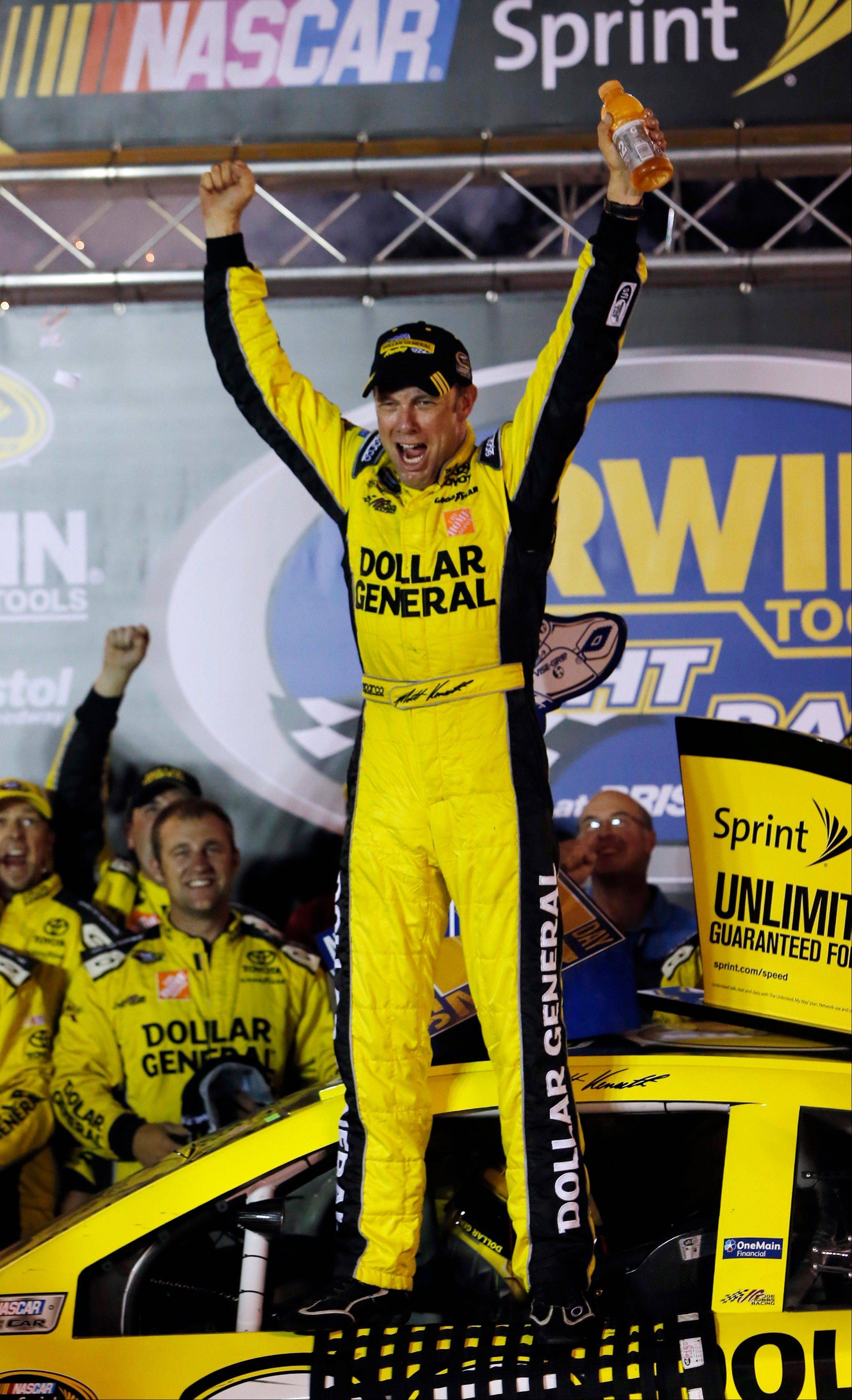 Matt Kenseth celebrates after winning the NASCAR Sprint Cup Series race Saturday at Bristol.