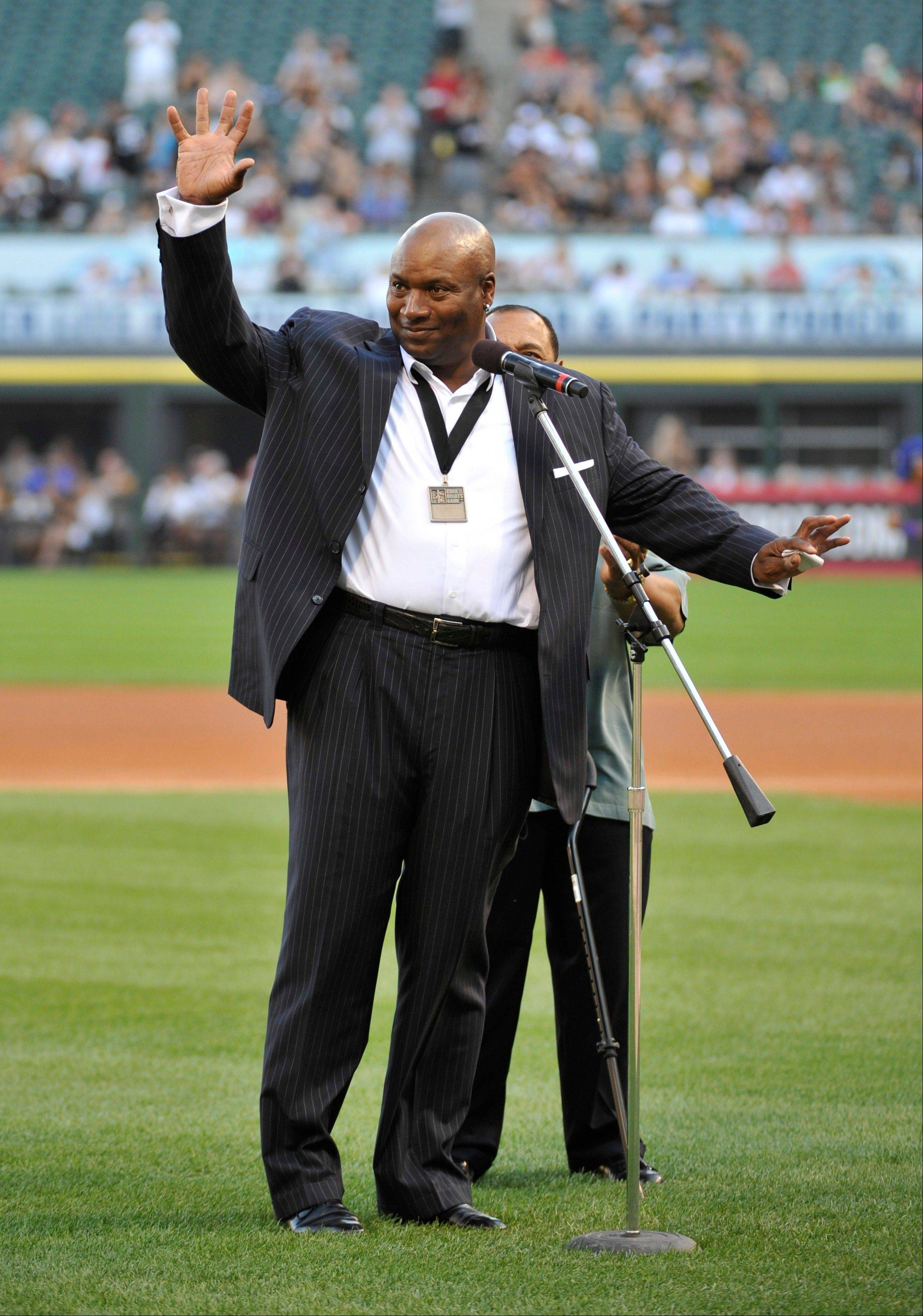 Bo Jackson is recognized on the field as a MLB Beacon Award recipient before Saturday night's seventh annual Civil Rights Game between the White Sox and the Texas Rangers at U.S. Cellular Field.