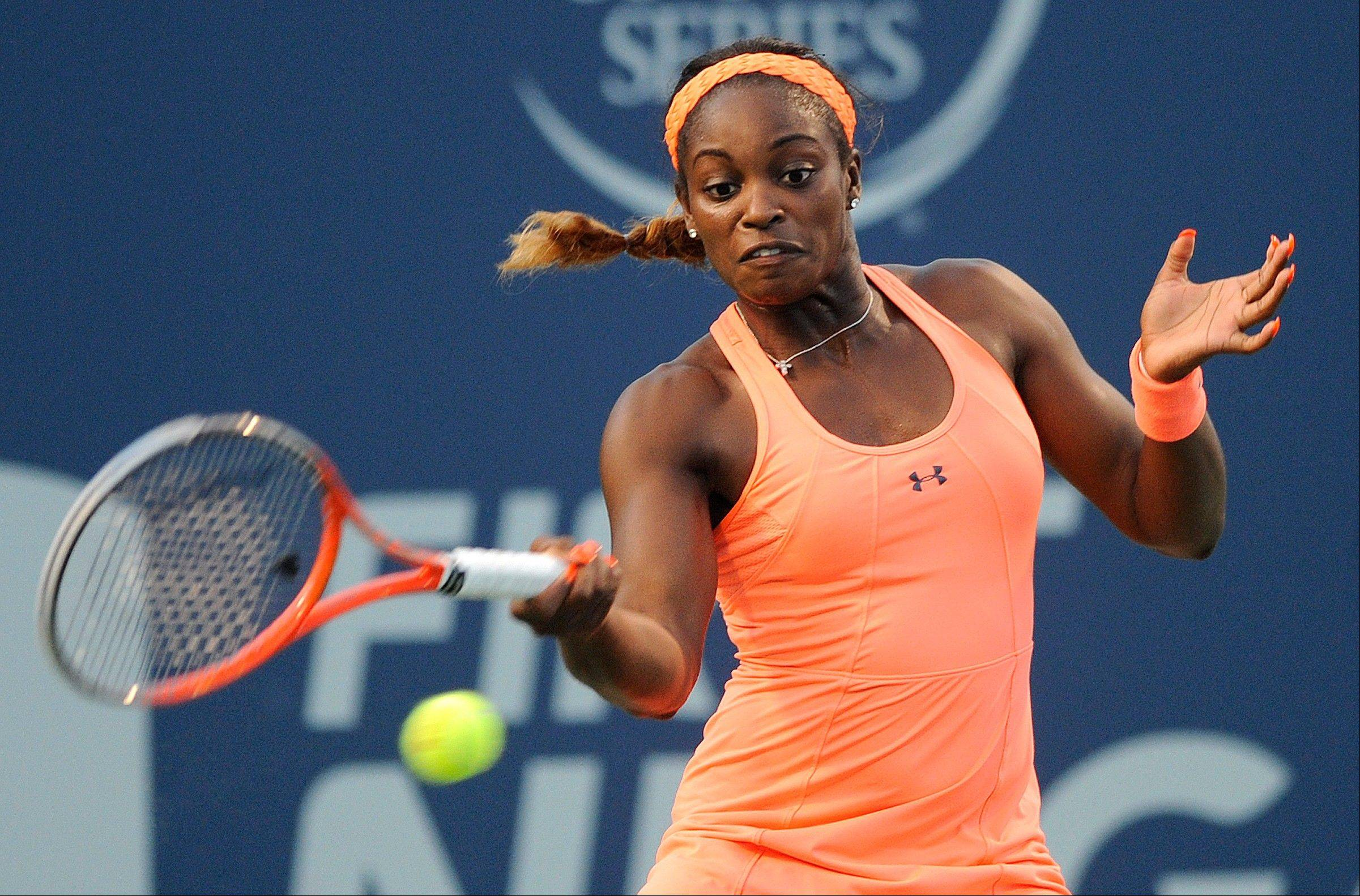 Sloane Stephens hits a forehand during her quarterfinal match against Caroline Wozniacki at the New Haven Open tennis tournament on Thursday. Stephens upset Serena Williams at the Australian Open this year.