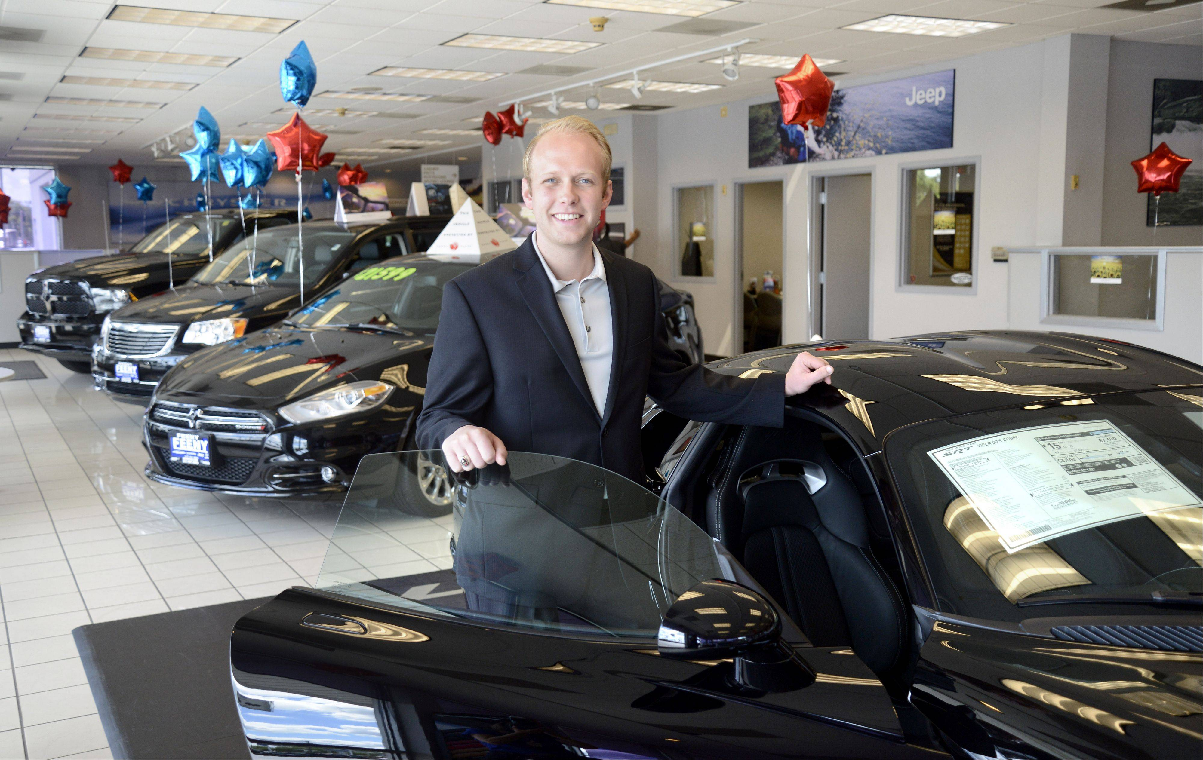 In July, Tim Feeny became general manager of Feeny Chrysler Jeep Dodge in Elgin. Feeny�s father has been selling automobiles in the area for 30 years.