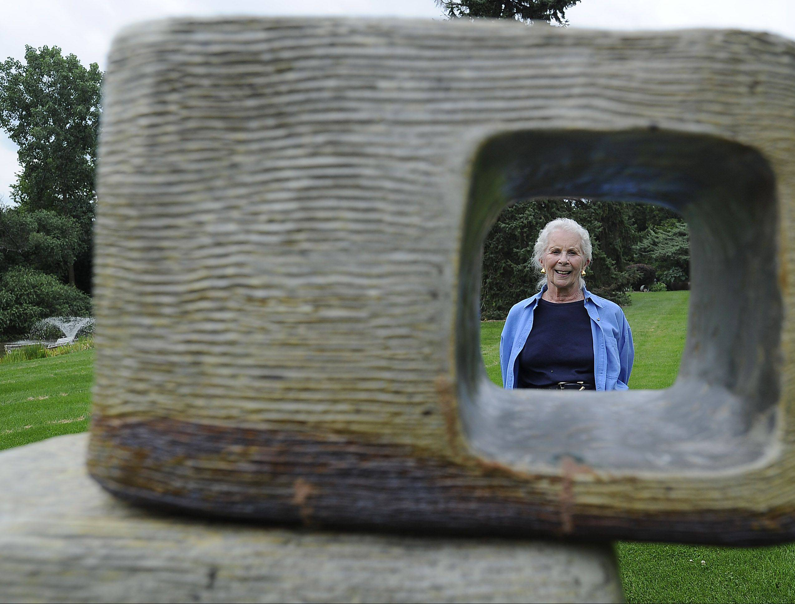 Lynn Rushing of Barrington Hills created a tower of ceramic rectangles for her garden.