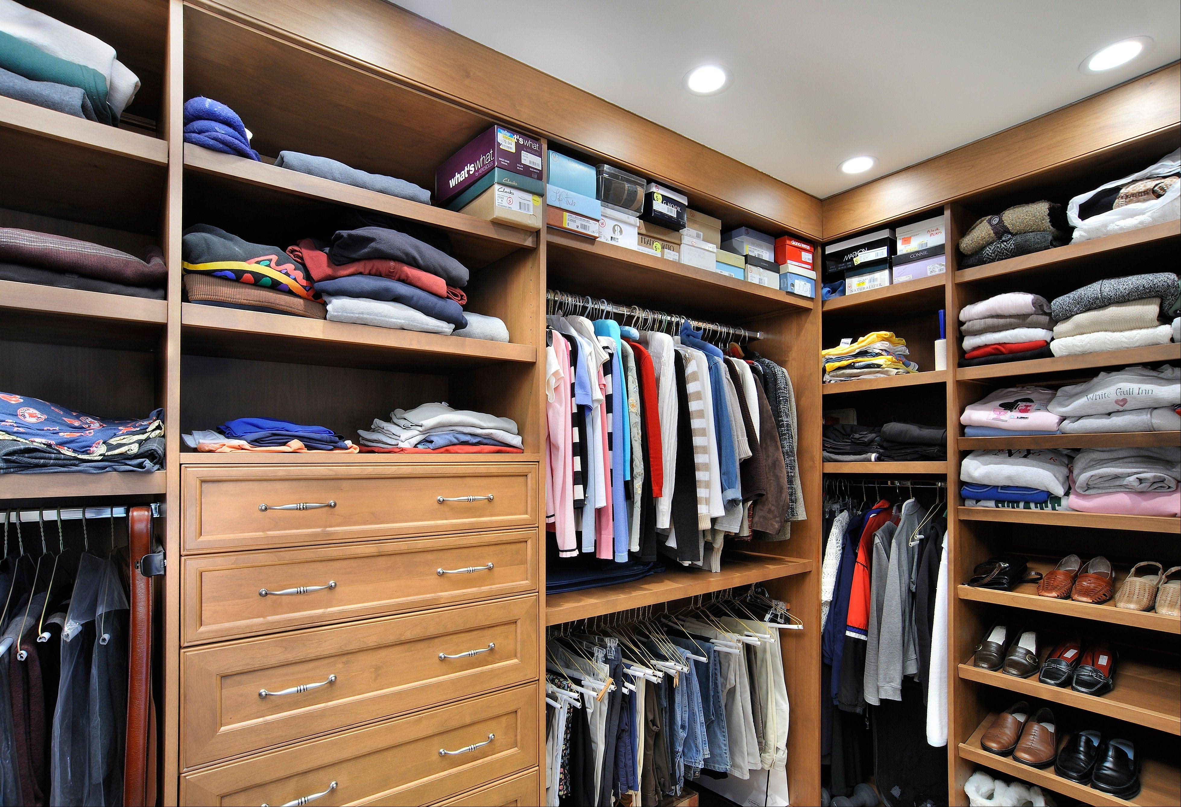 Organize your closet by grouping similar types and colors of clothing.