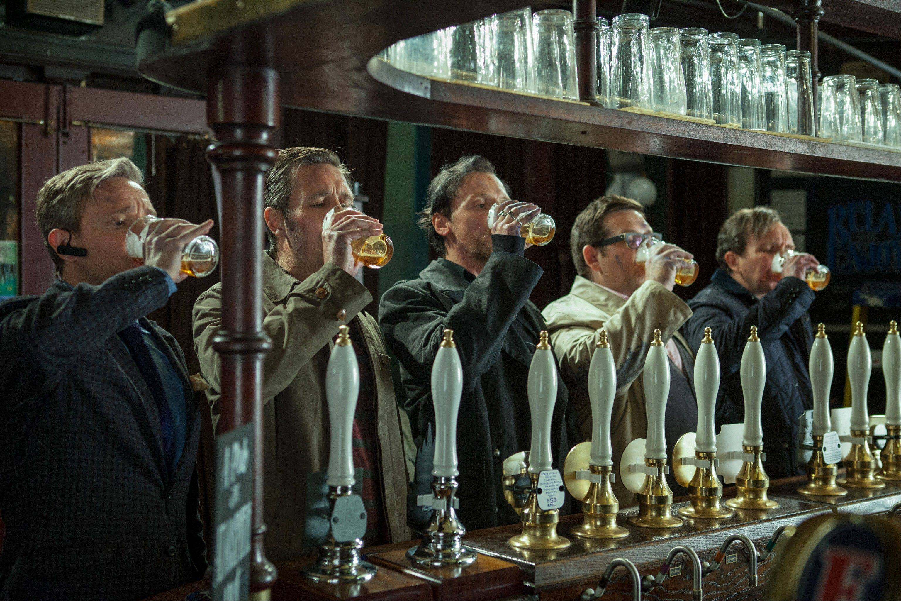"Cheers! Martin Freeman, left, Paddy Considine, Simon Pegg, Nick Frost and Eddie Marsan drink up in ""The World's End."""