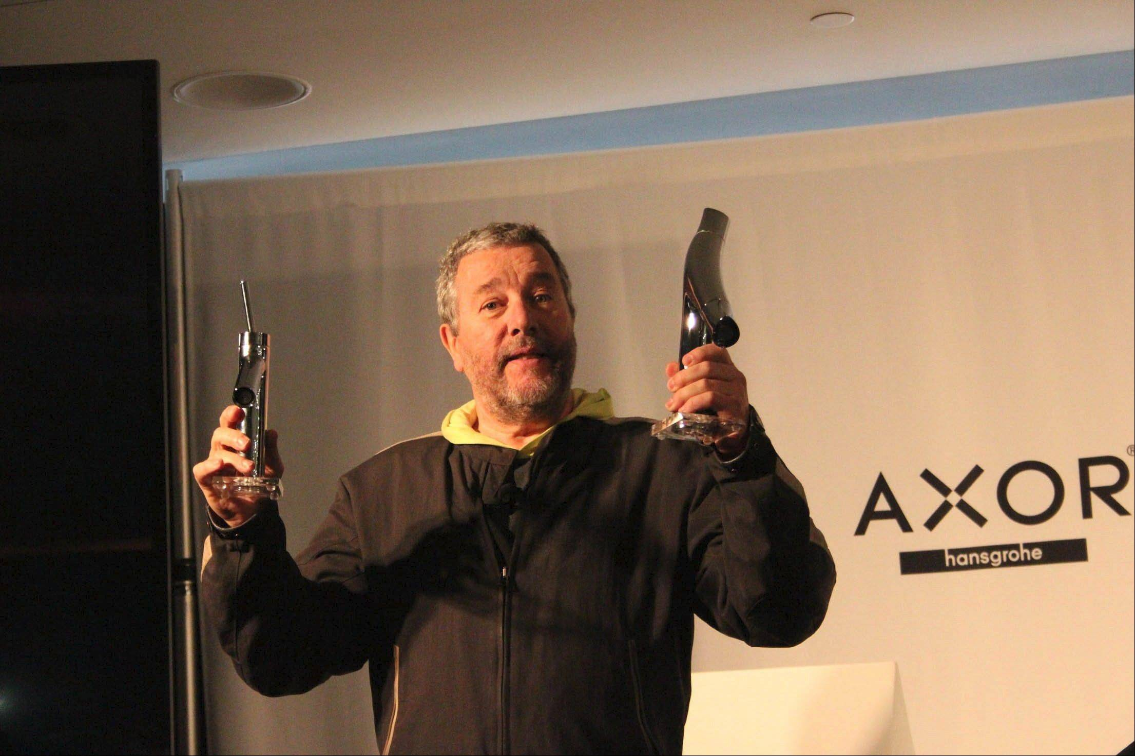 During design week in New York City, designer Philippe Starck illustrates the difference between his older design and the new Axor Starck Organic, which saves water.