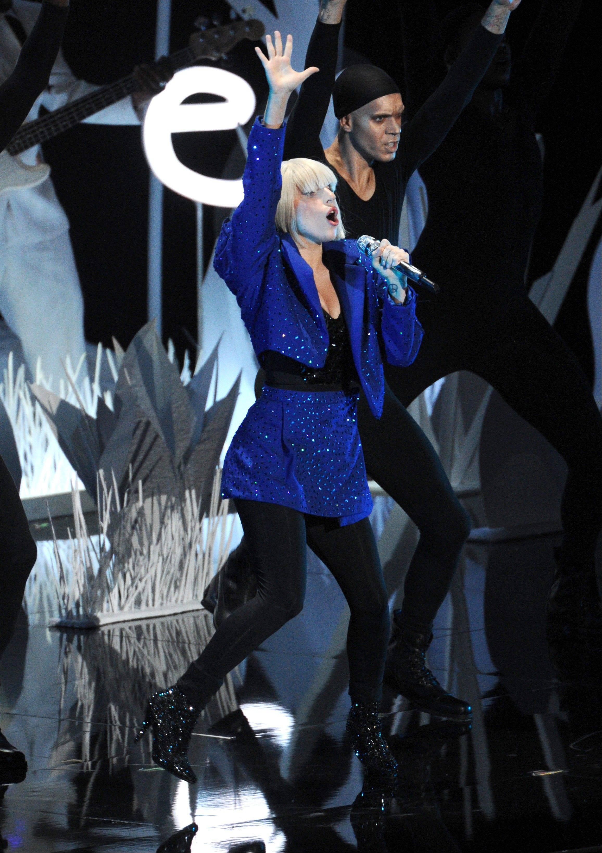 "Lady Gaga performs ""Applause"" at the MTV Video Music Awards on Sunday, Aug. 25, 2013, at the Barclays Center in the Brooklyn borough of New York."