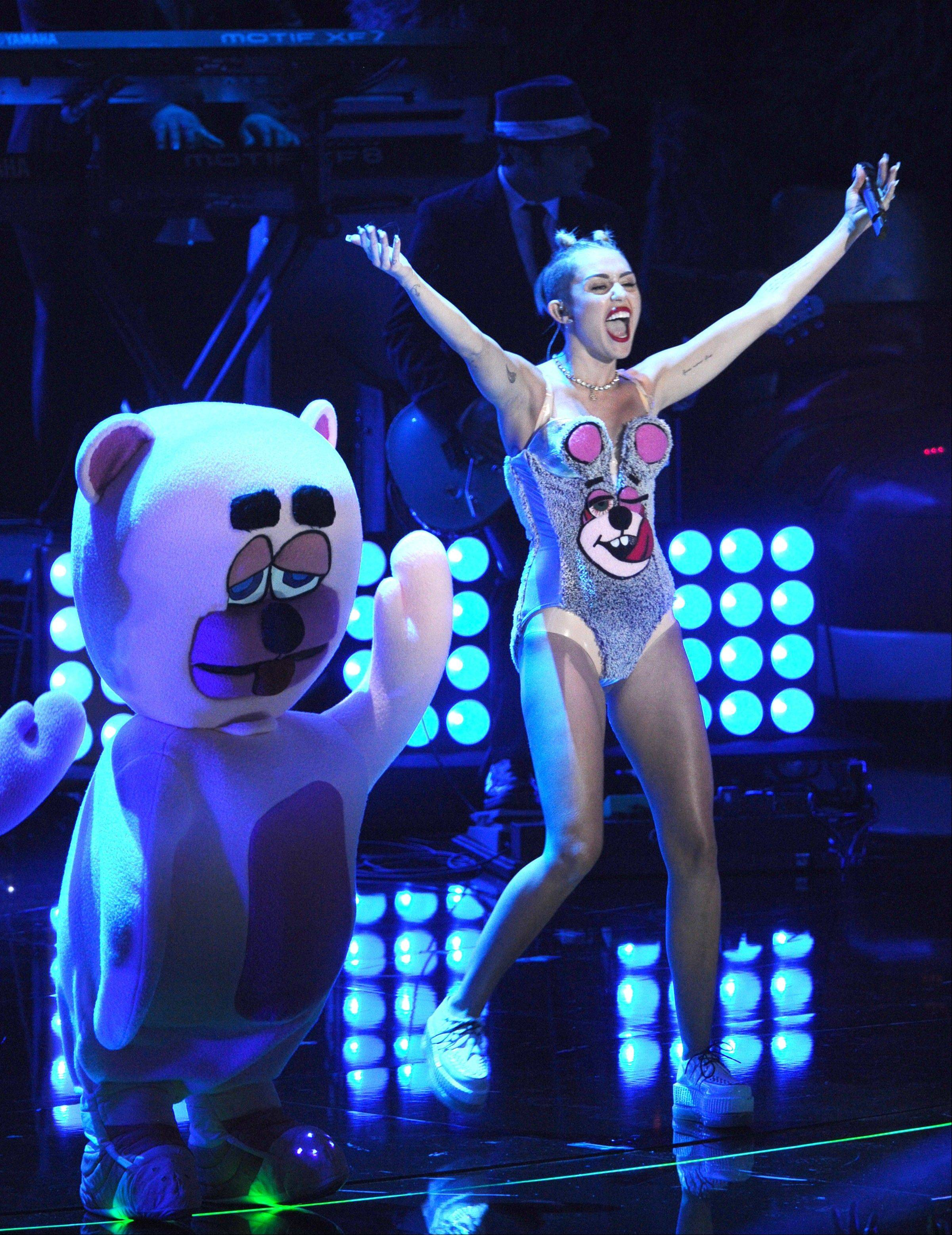 Miley Cyrus performs at the MTV Video Music Awards on Sunday, Aug. 25, 2013, at the Barclays Center in the Brooklyn borough of New York.