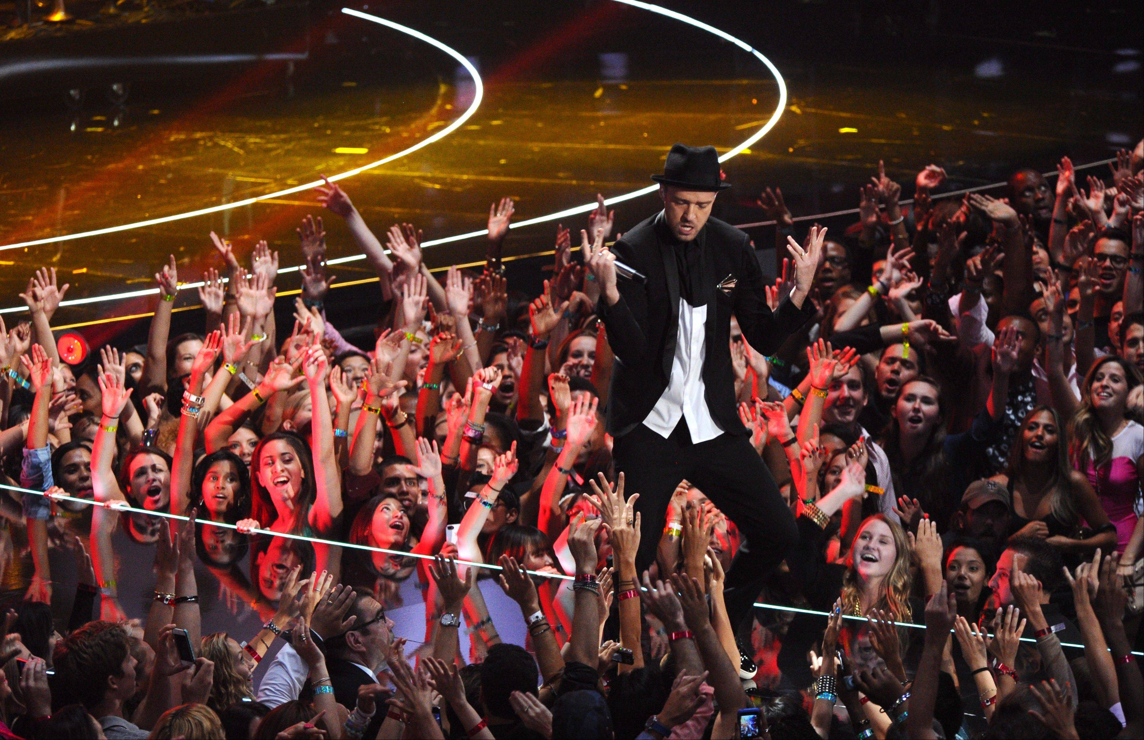 Justin Timberlake performs at the MTV Video Music Awards on Sunday, Aug. 25, 2013, at the Barclays Center in the Brooklyn borough of New York.