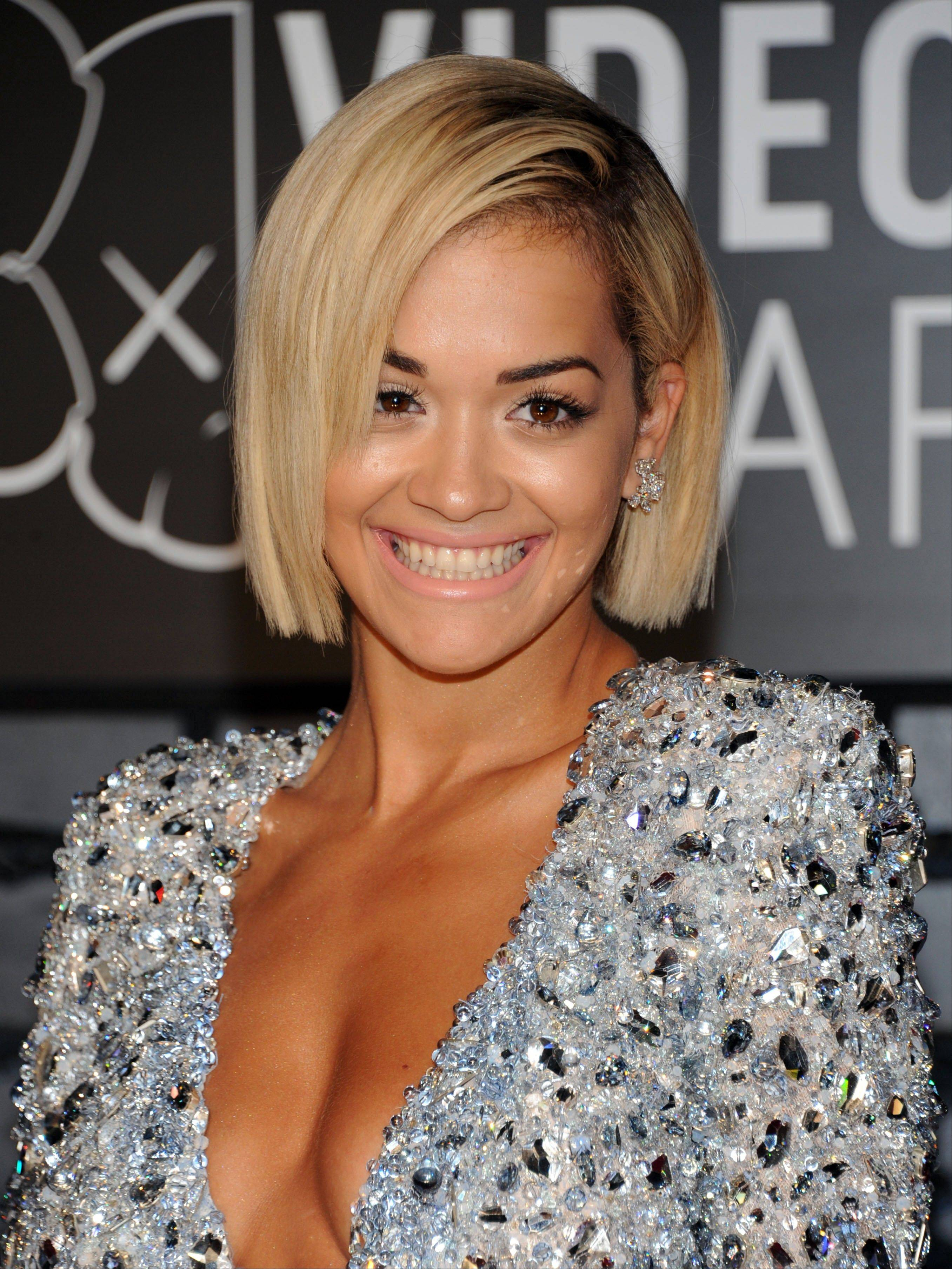 Rita Ora arrives at the MTV Video Music Awards on Sunday, Aug. 25, 2013, at the Barclays Center in the Brooklyn borough of New York.