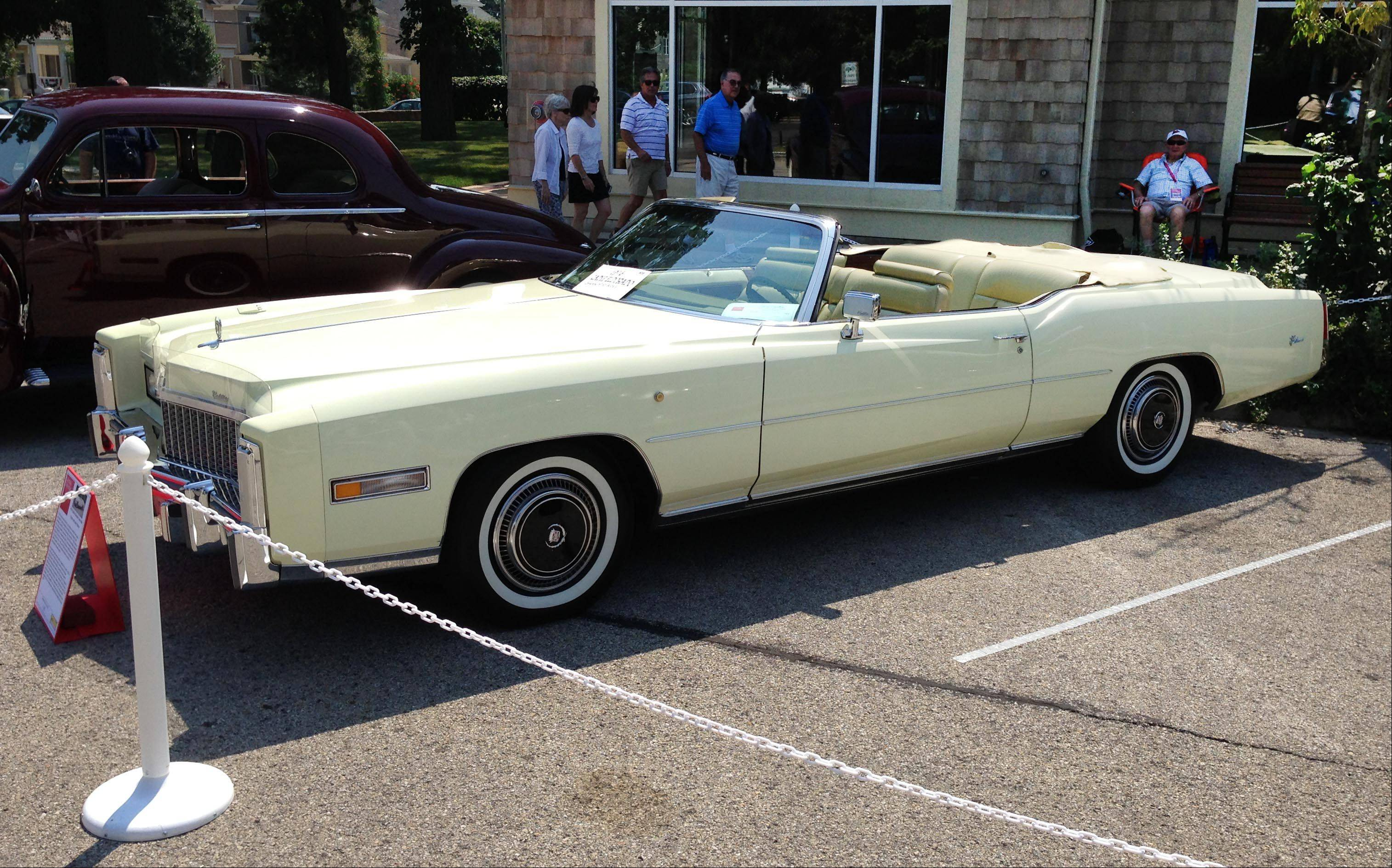 A 1976 Cadillac Eldorado two door convertible, owned by Hinsdale resident Charles Hartley, were among the cars on display Sunday during the Concours d'Elegance in downtown Geneva.