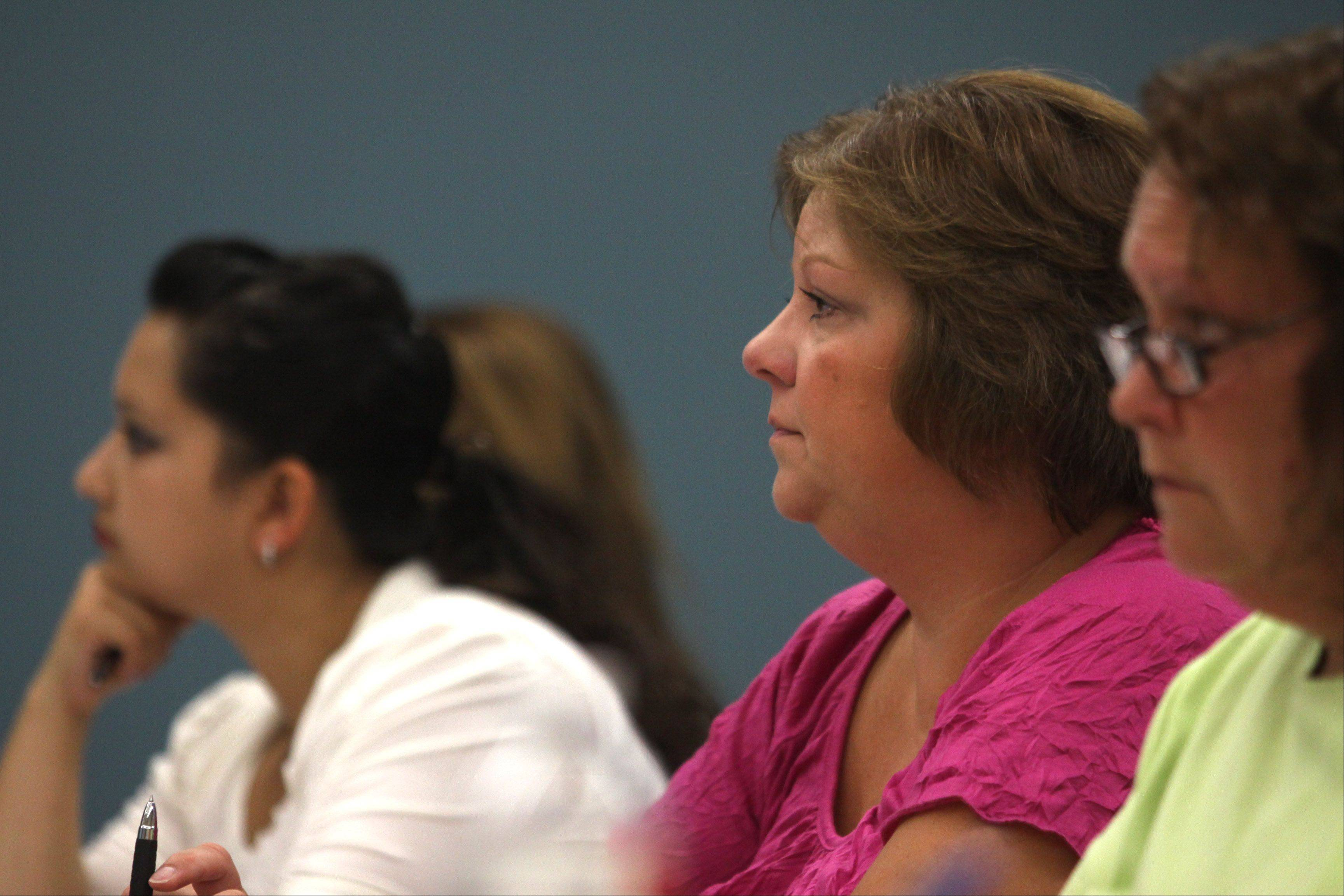 Student participates during an Elgin Community College/Columbia College of Missouri social gerontology course at ECC.