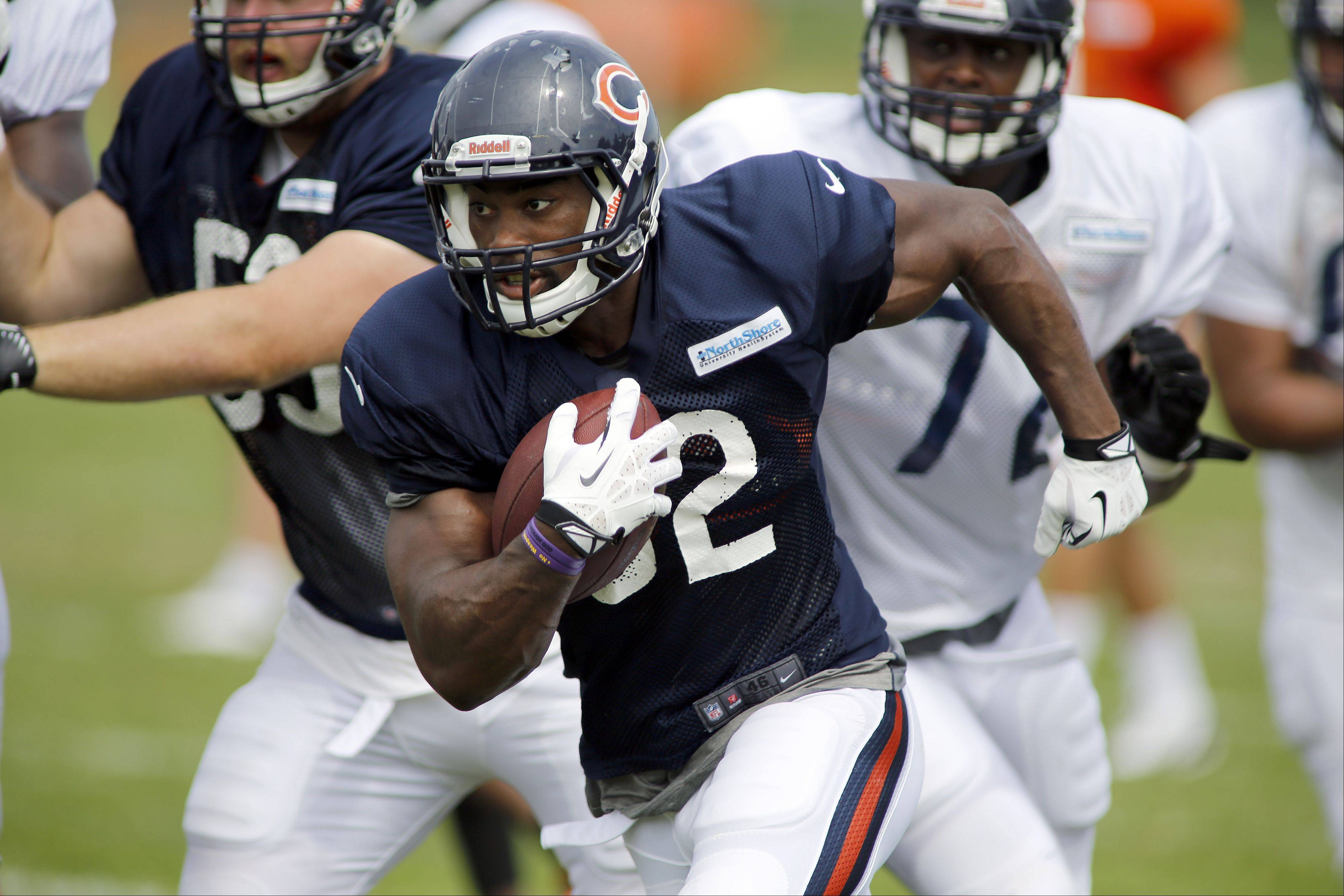 Brian Hill/bhill@dailyherald.com Rookie running back Michael Ford has impressed this preseason and could go a long way in securing a roster spot with a big game Thursday in the Bears' final preseason game.