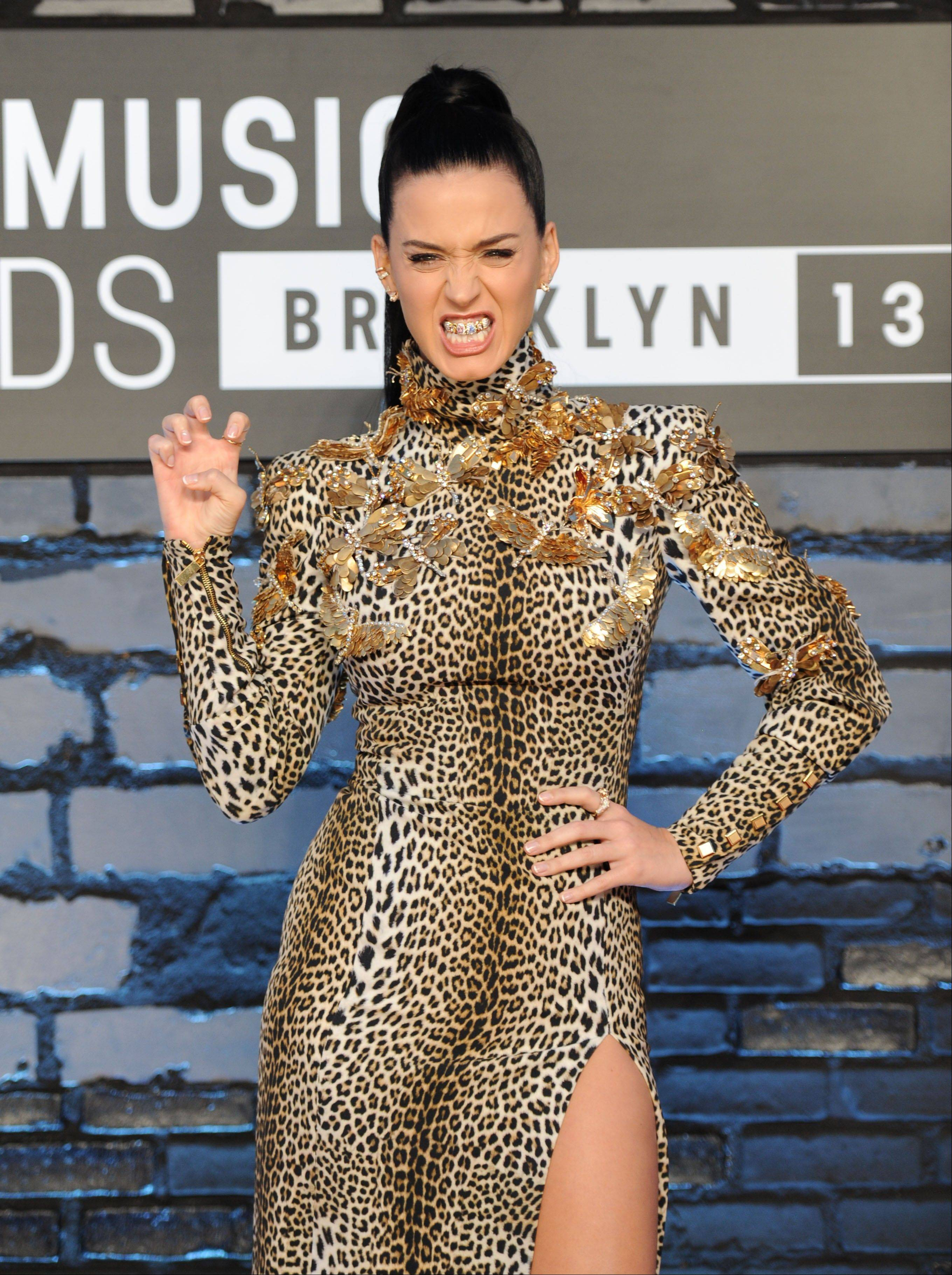 Katy Perry poses at the MTV Video Music Awards on Sunday.