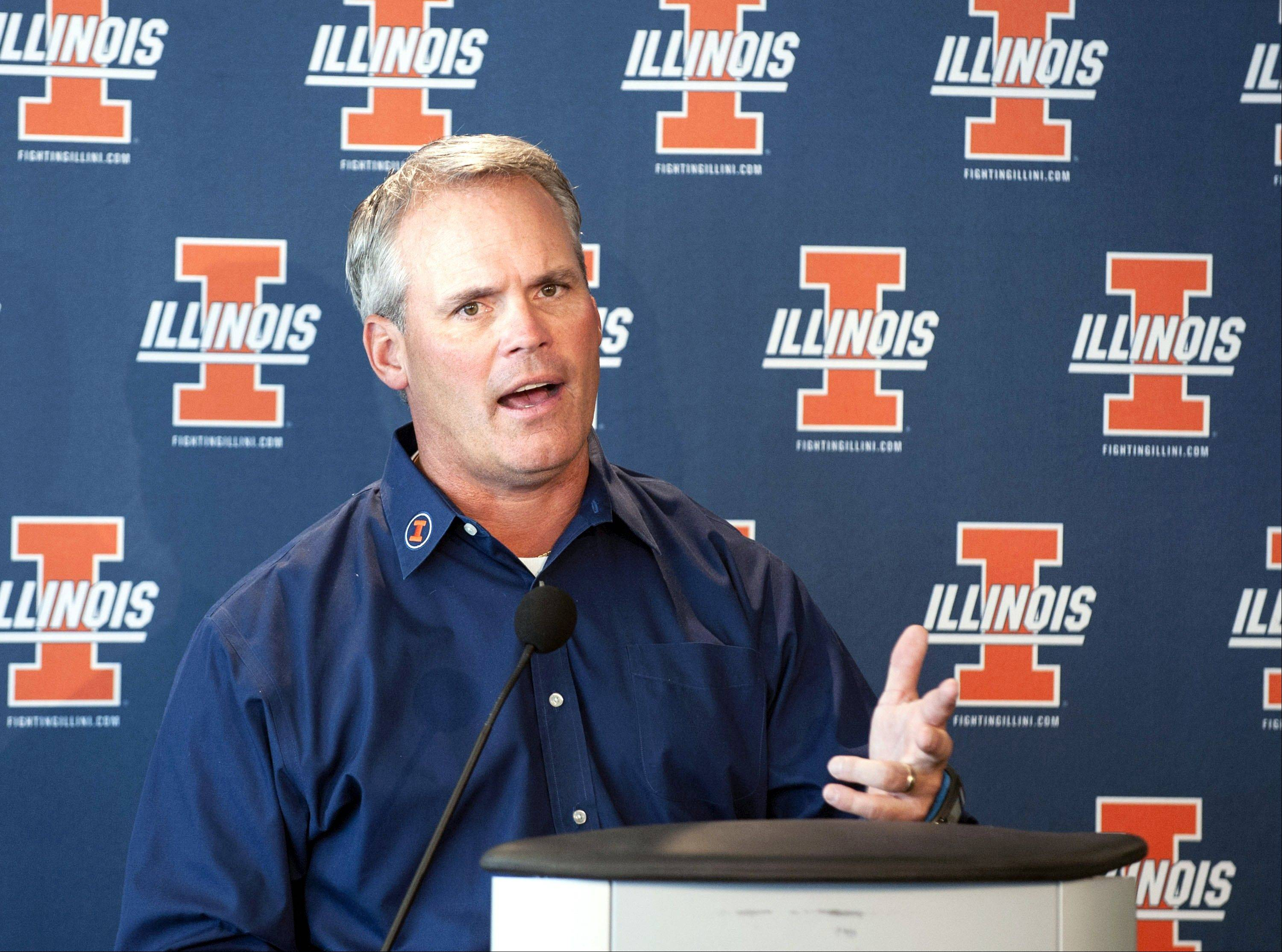 Illinois football coach Tim Beckman addresses the media at his first news conference of the season Monday at Memorial Stadium in Champaign. The Illini will host SIU on Saturday in the season opener.