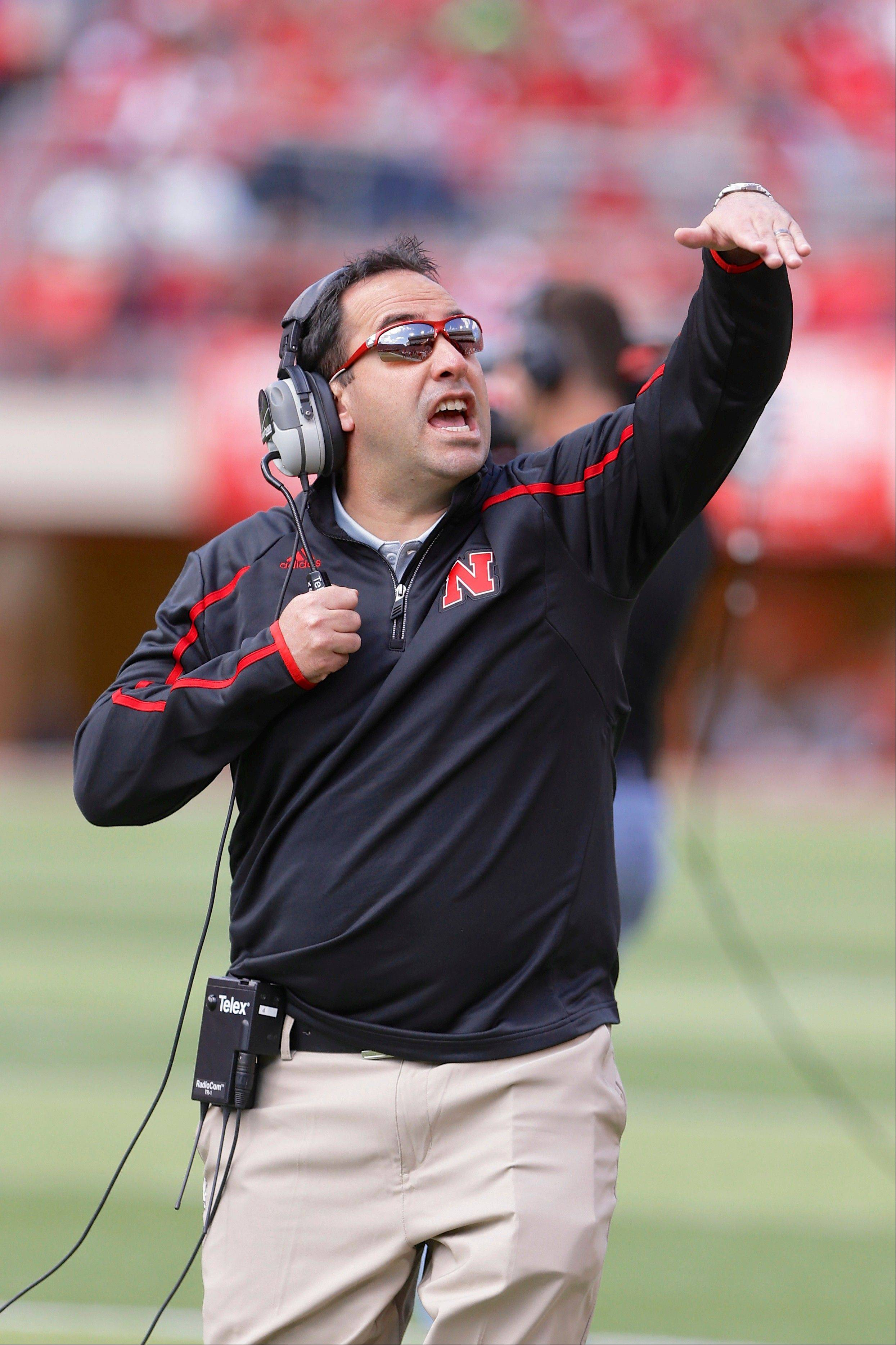 Nebraska defensive coordinator John Papuchis calls plays during the annual Red-White spring game. No. 18 Nebraska�s young defense will be tested right away when Wyoming brings its spread offense to Lincoln for the opener on Saturday.