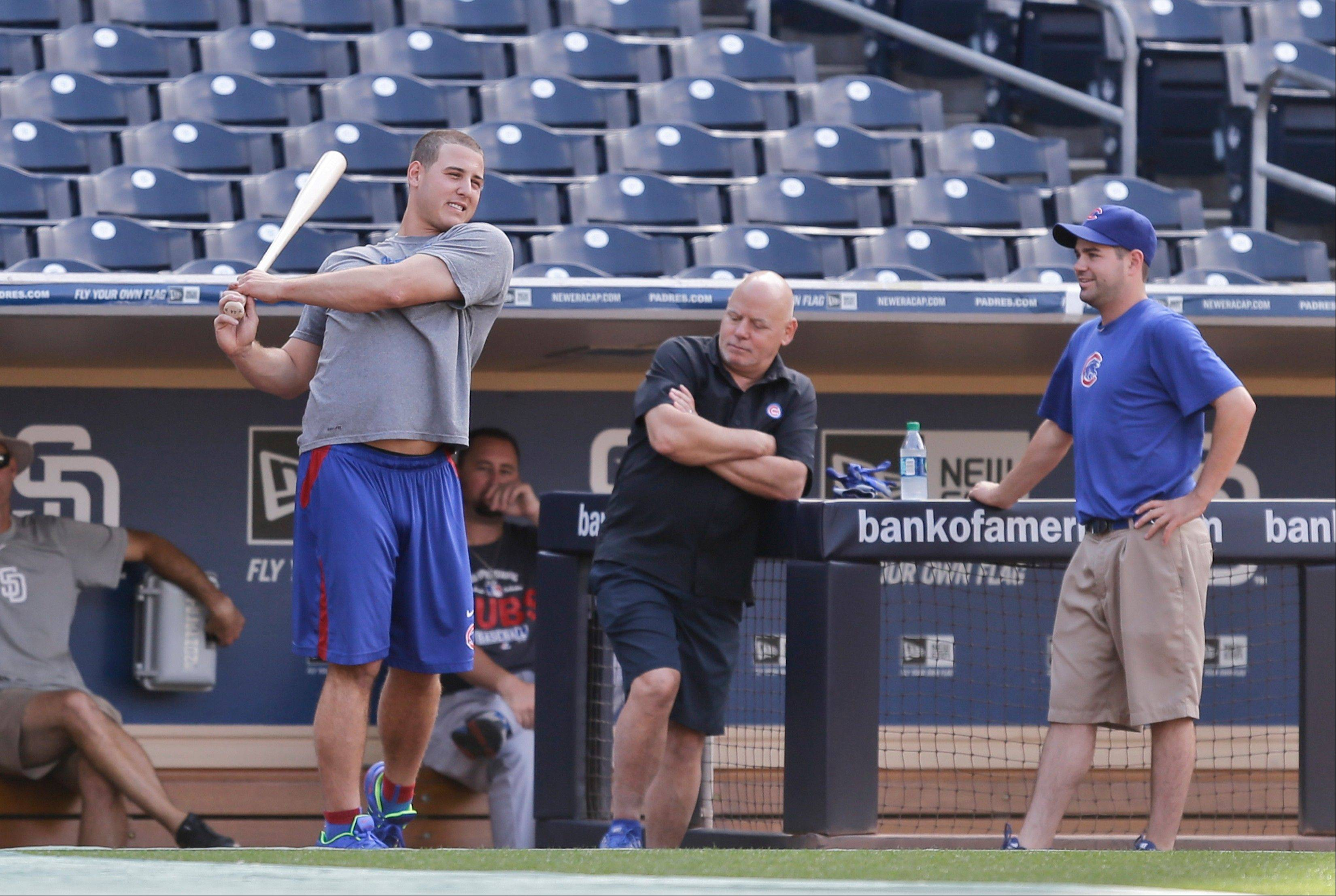 Cubs first baseman Anthony Rizzo, here during warmups in San Diego, understands that baseball is a business with lots of roster changes, but he'll still miss former teammate David DeJesus. Veterans being shipped off to other teams is just one thing of what makes August a challenging month for many teams, says Len Kasper.