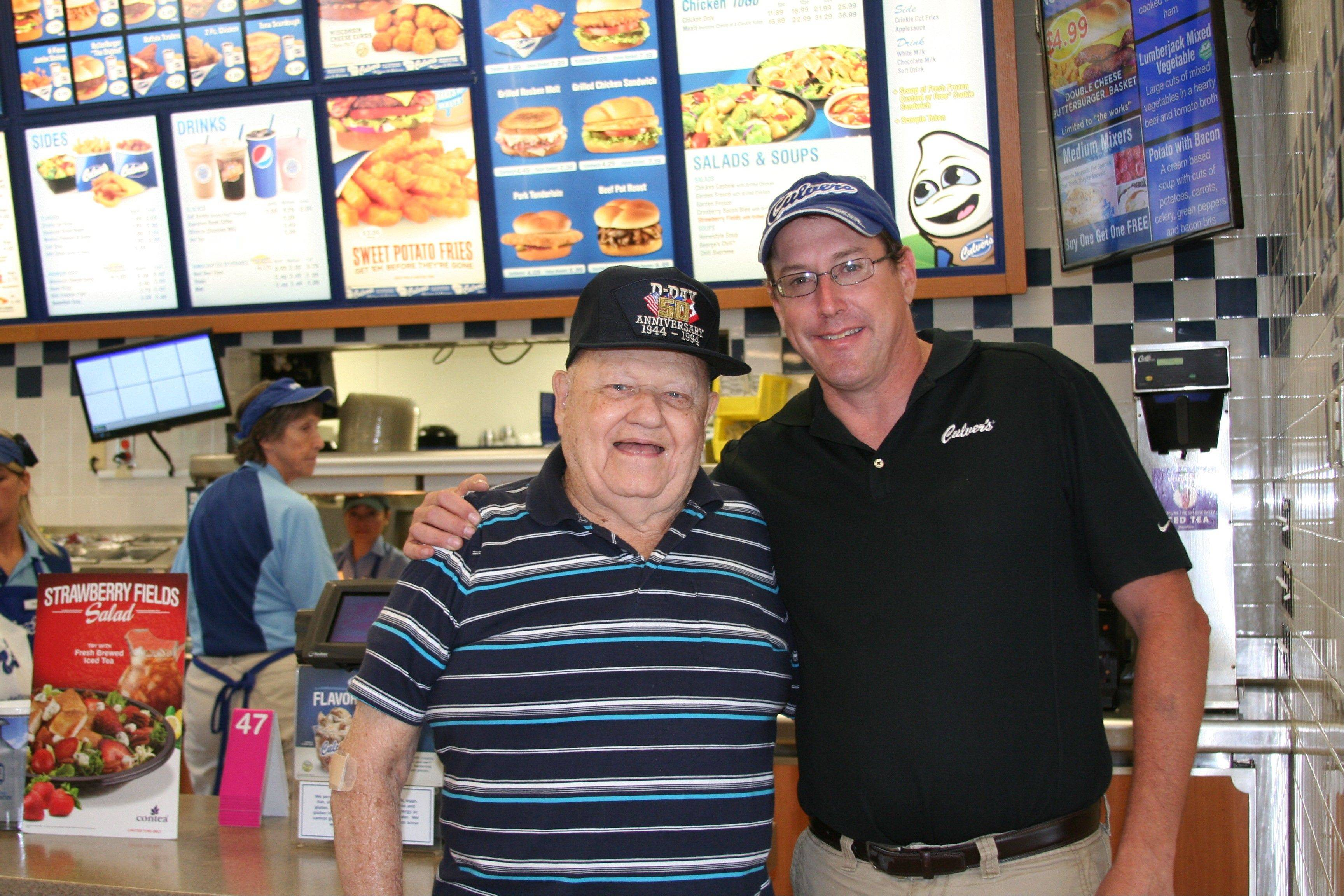 George Houchin of Waukegan and Culver's General Manager Jesse Jarrett in Zion.