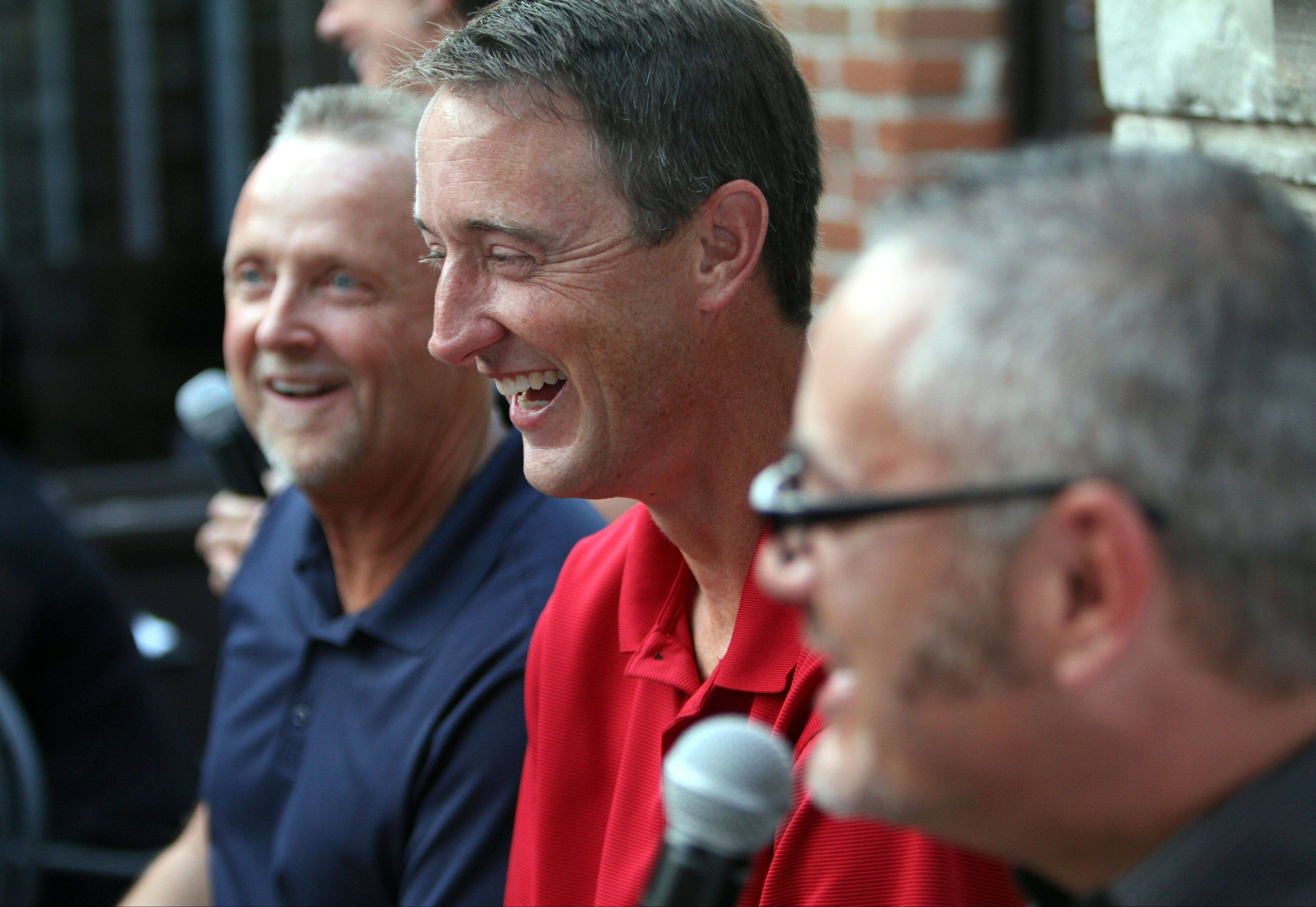 The Daily Herald hosted a Fantasy Football preview event Monday for about 100 subscribers with Fantasy Football columnist John Dietz, center, Bears beat writer Bob LeGere, left, and sports writer Joe Aguilar at Rack House Kitchen and Tavern in Arlington Heights.