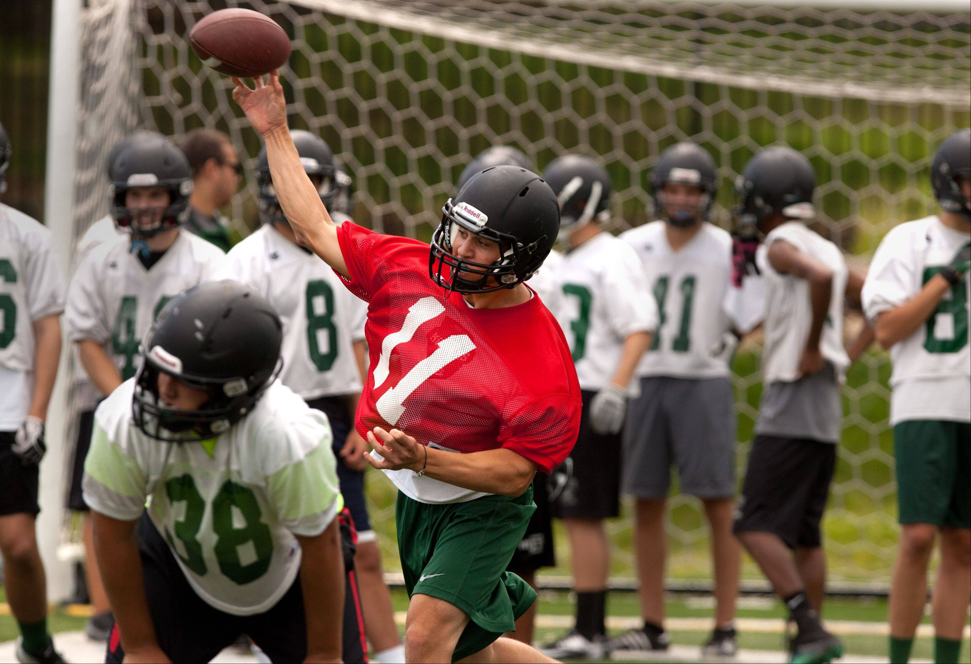 Glenbard West quarterback Drew Vogg, during the first day of practice.