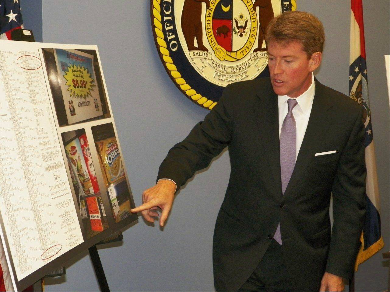 Missouri Attorney General Chris Koster details a lawsuit filed against Walgreen Co., accusing the Deerfield-based pharmacy chain of overcharging customers and using deceptive display advertising and pricing schemes.