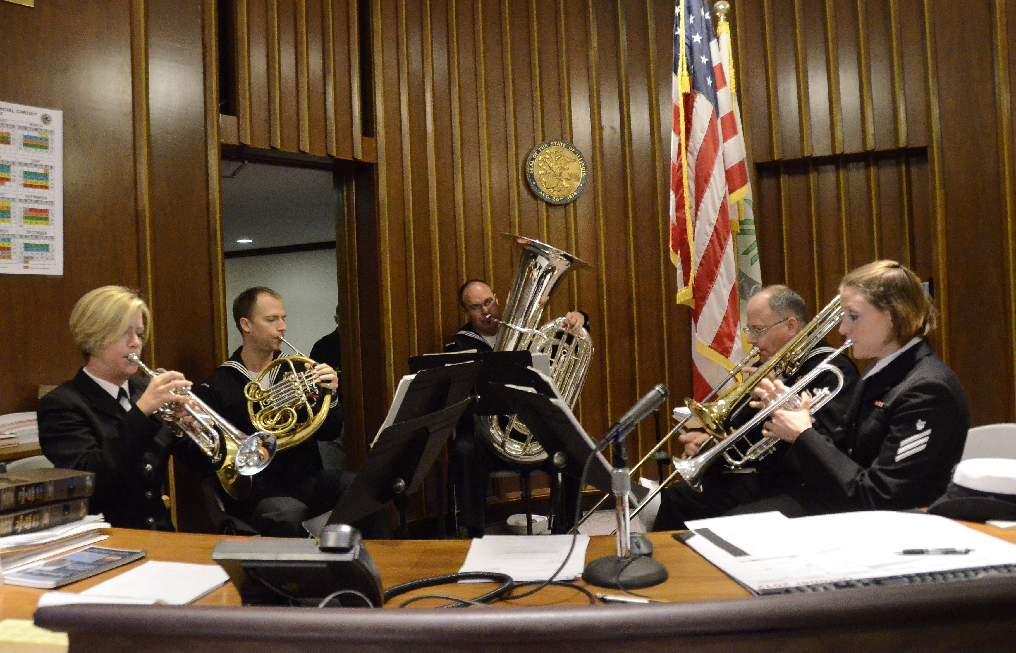 The Navy Band plays for members of the legal community and combat war veterans at the Lake County Courthouse last year during the recording of veterans' stories for the Library of Congress.