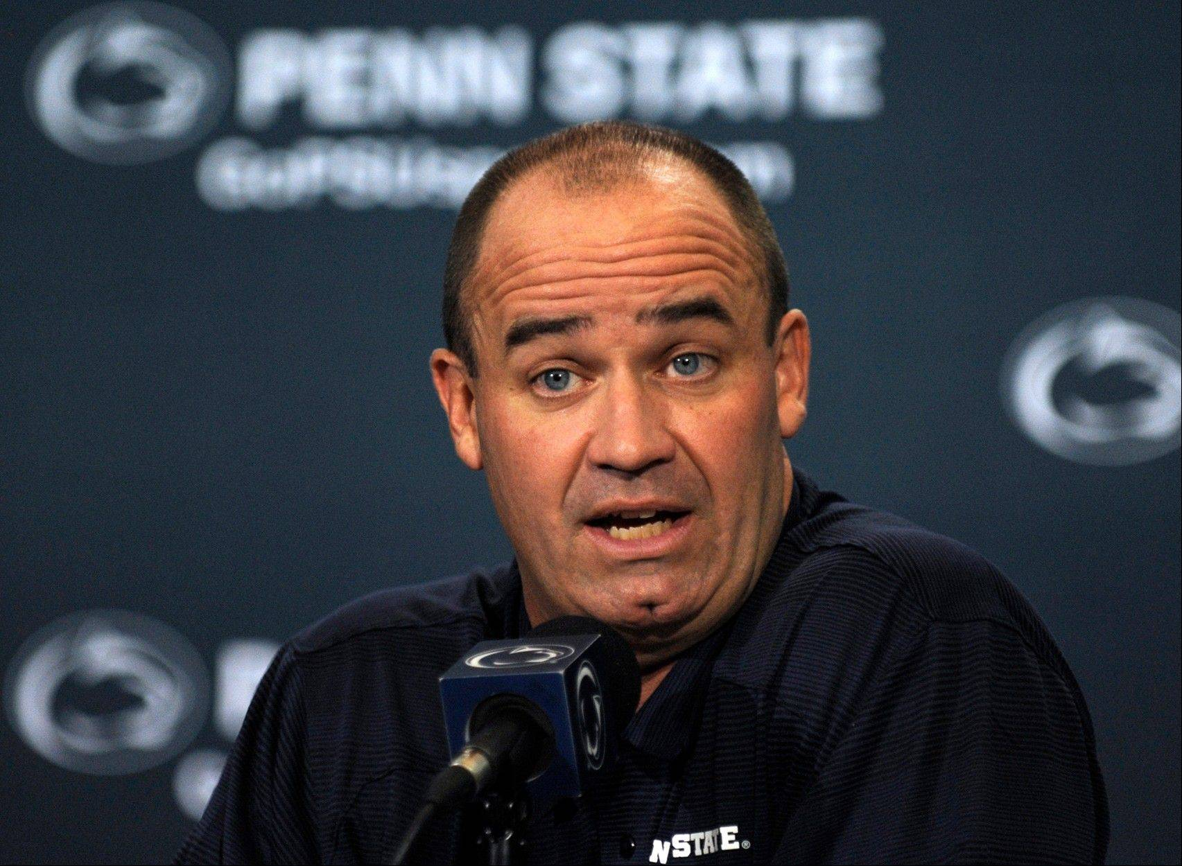 "Penn State head football coach Bill O'Brien says ""you'll find out who the quarterback is on the first play of the game."""
