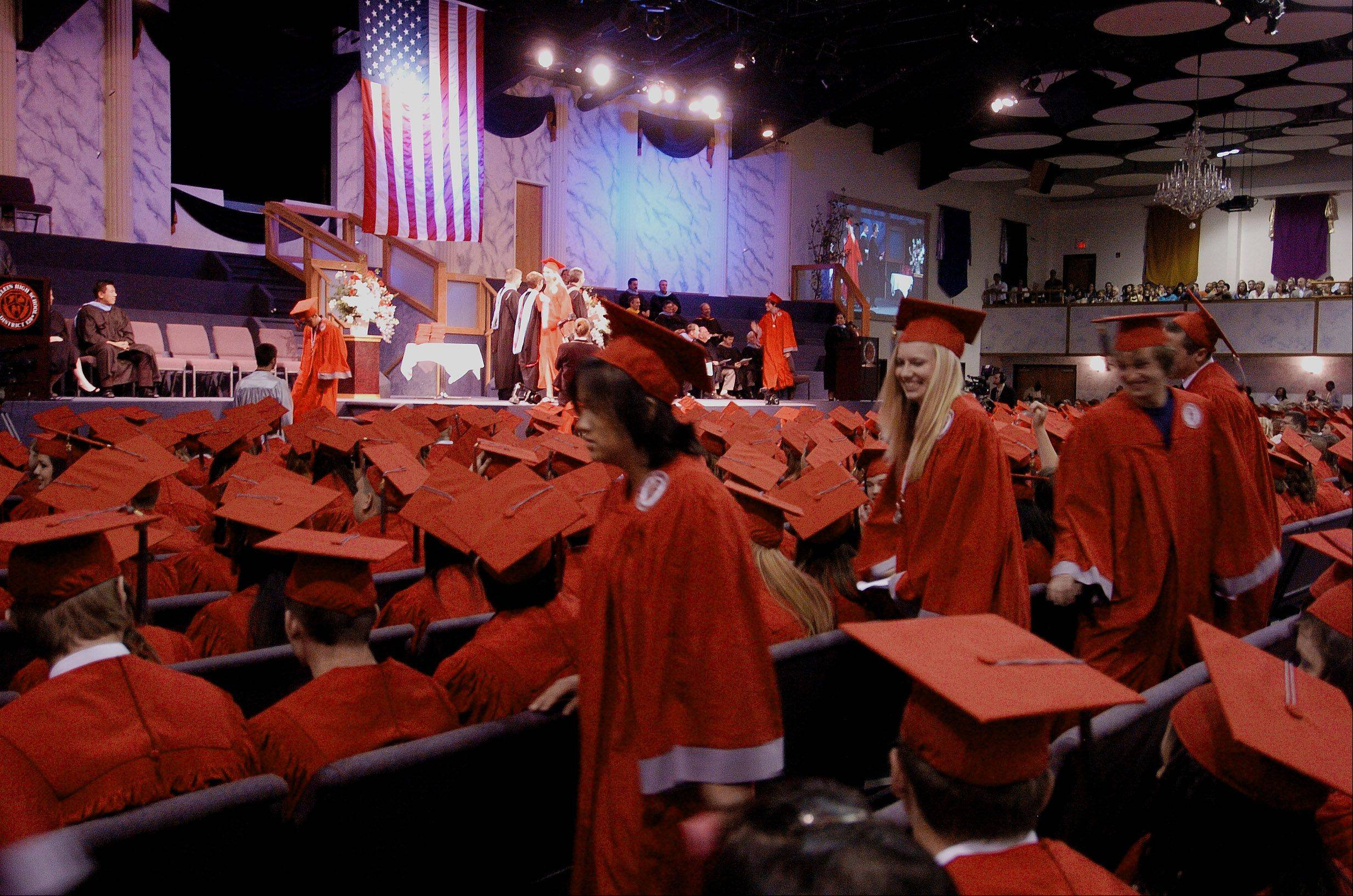 Mundelein High School�s commencement ceremony will move to the Sears Centre in Hoffman Estates in 2014.