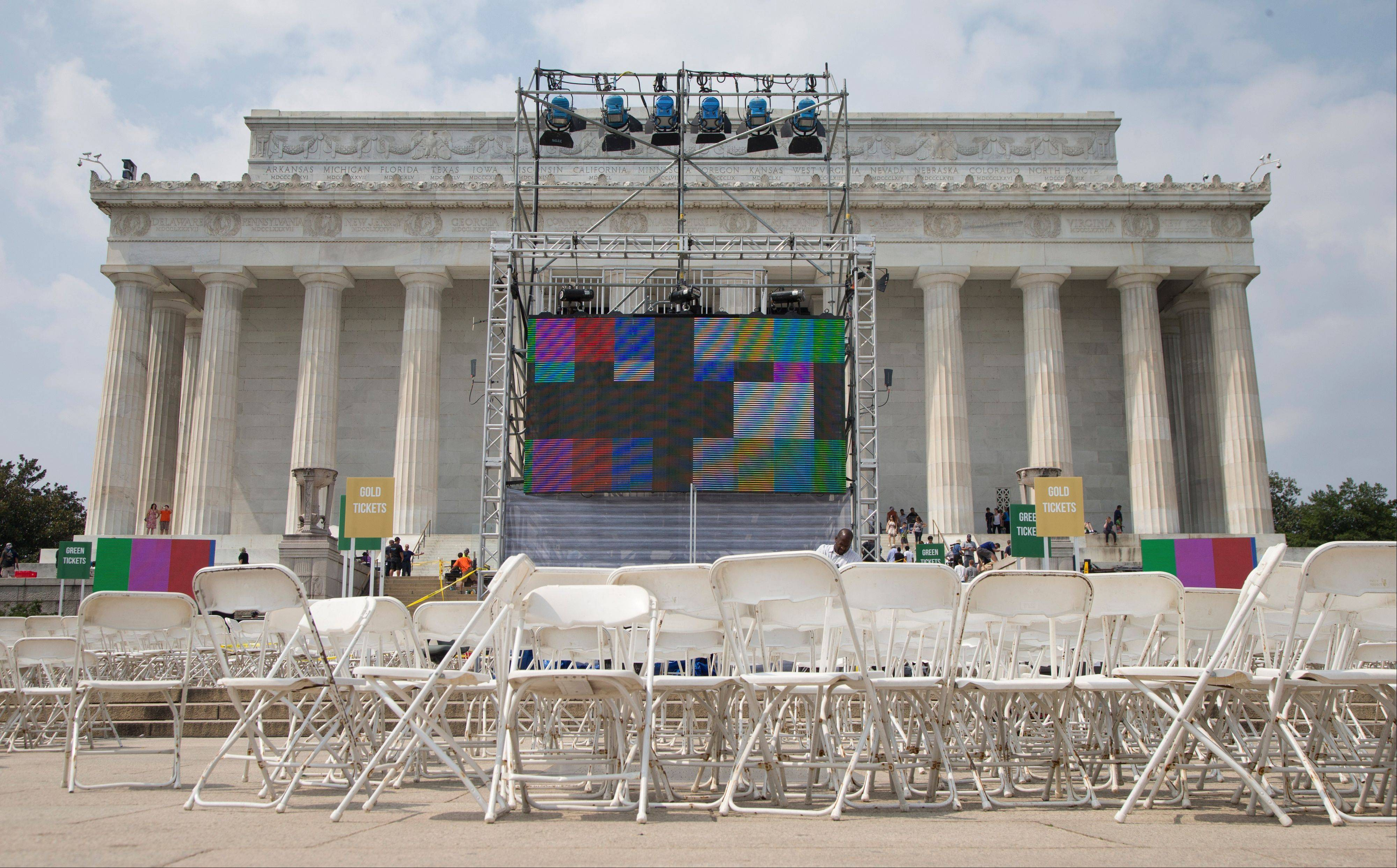 Chairs, metal risers and video screens are set up Tuesday at the Lincoln Memorial in Washington, in preparation for the 50th anniversary of the March On Washington celebrations that will be held Wednesday. Barack Obama, who is going to speak, was 2 years old and growing up in Hawaii when King delivered his �I Have a Dream� speech from the steps of the Lincoln Memorial. Fifty years later, the nation�s first black president will stand as the most high-profile example of the racial progress King espoused, delivering remarks at a nationwide commemoration of the 1963 demonstration for jobs, economic justice and racial equality.